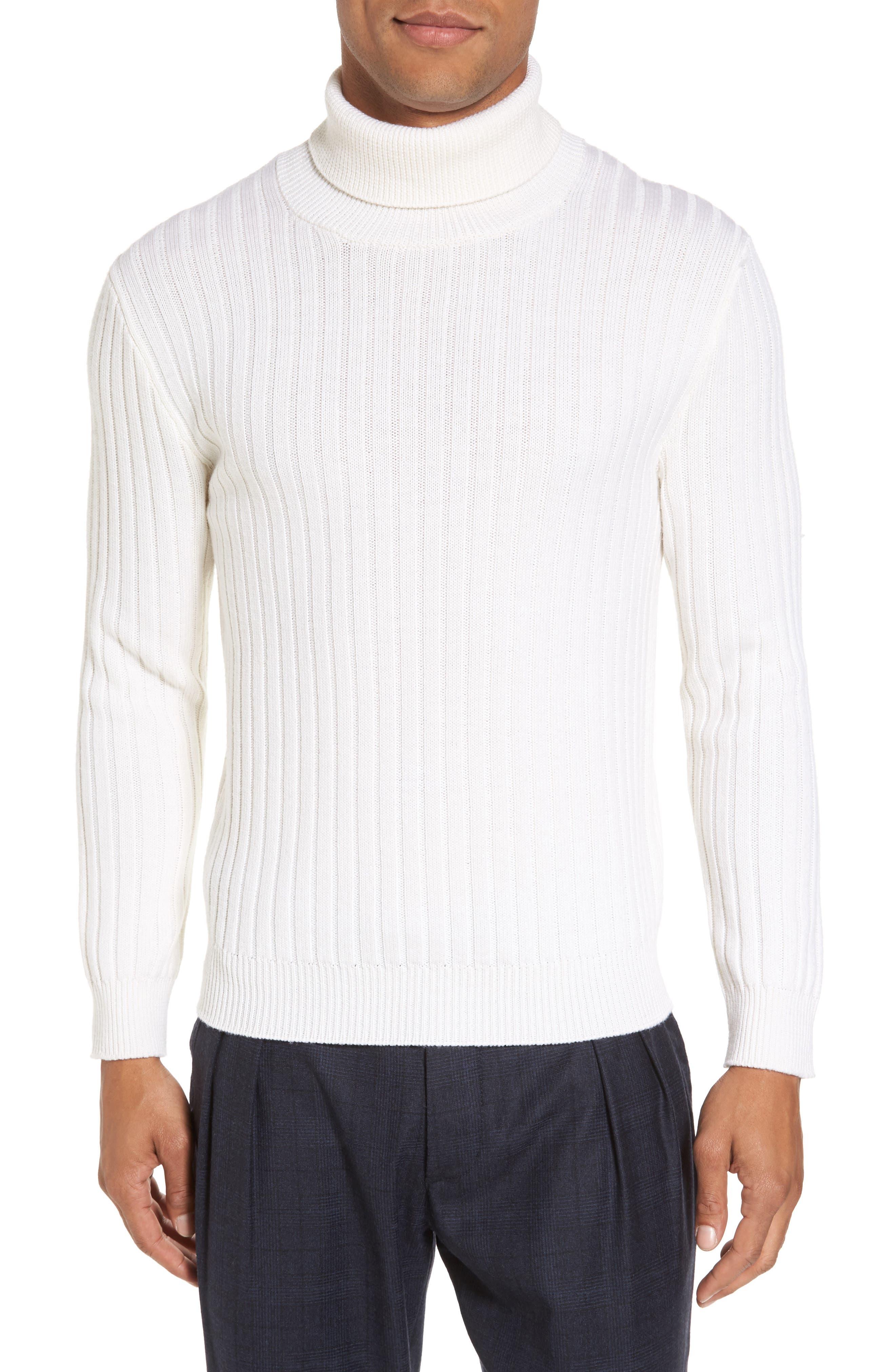 Eleventy Ribbed Turtleneck Wool Sweater