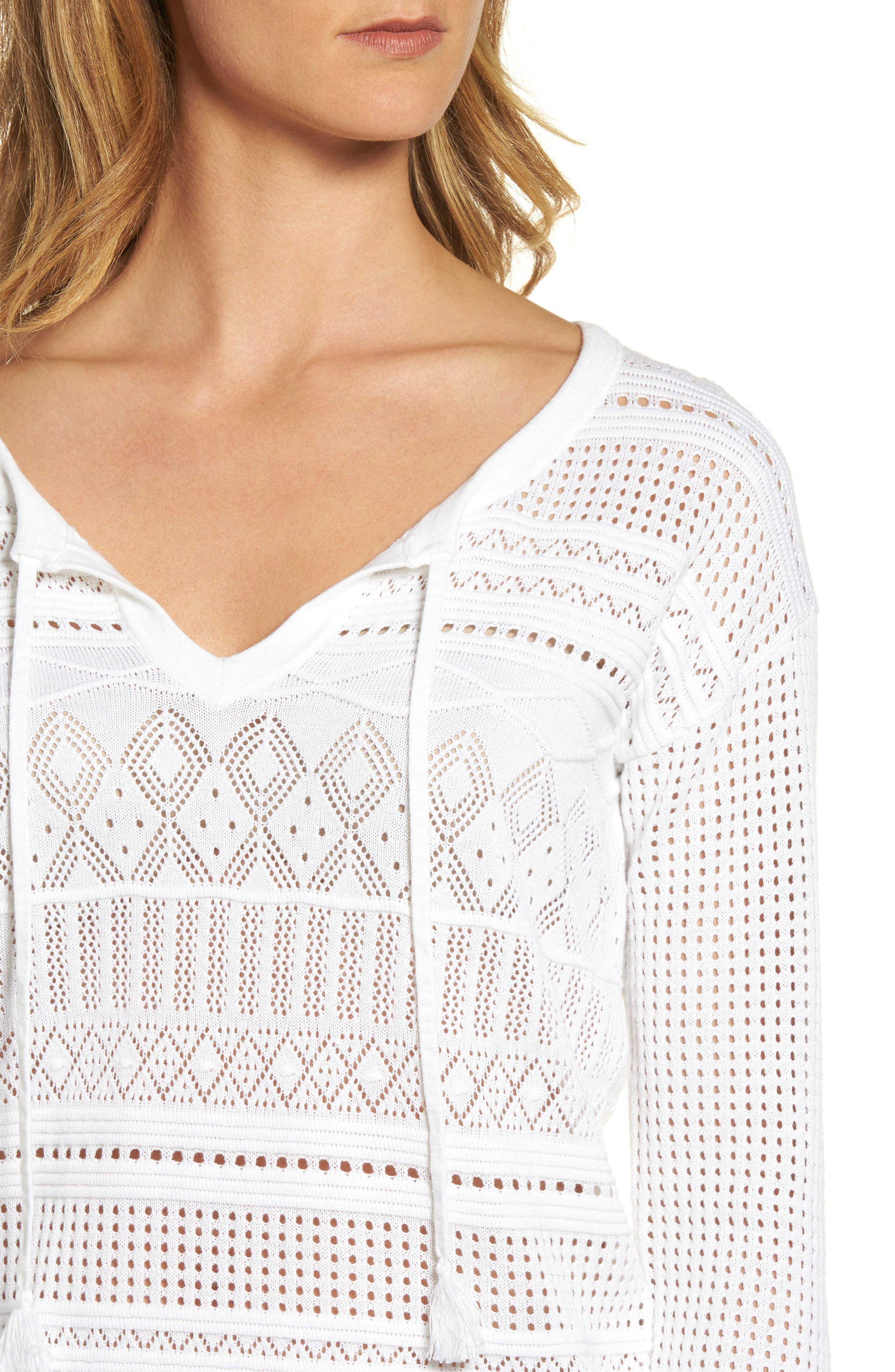 Pickford Pointelle Split Neck Sweater,                             Alternate thumbnail 4, color,                             White