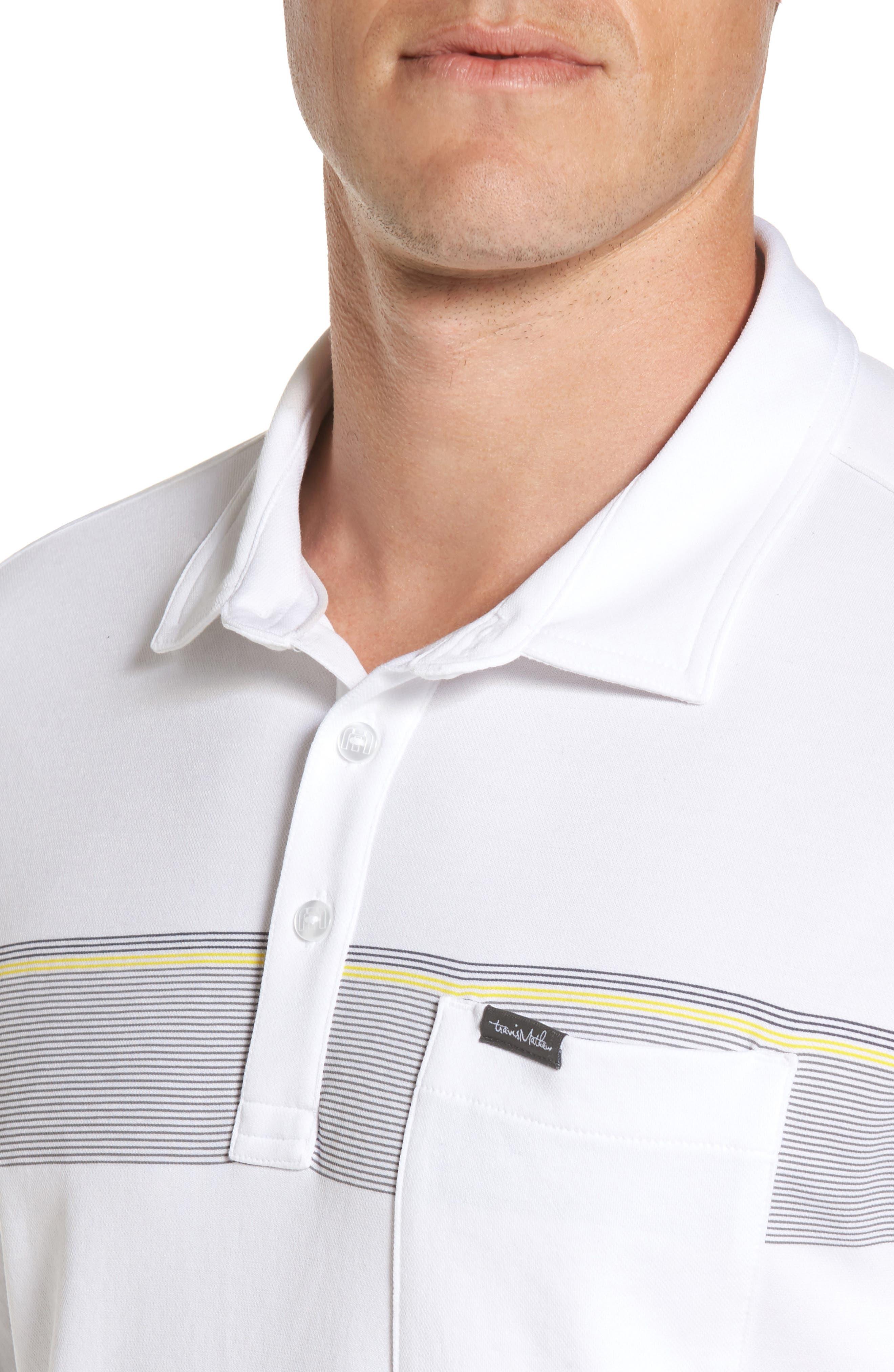 Growler Stripe Polo,                             Alternate thumbnail 4, color,                             White