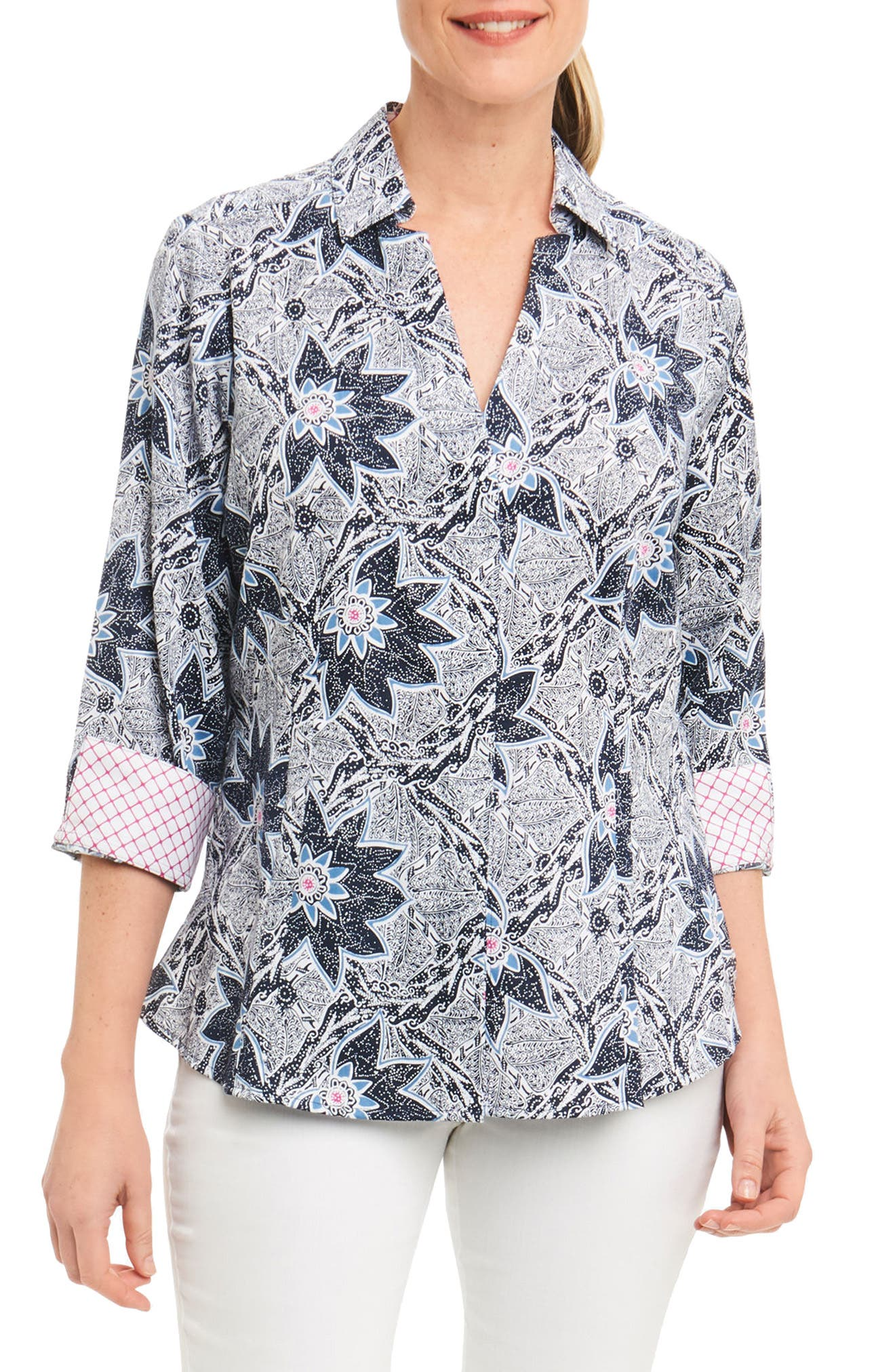 Alternate Image 1 Selected - Foxcroft Taylor Summer Floral Shirt (Regular & Petite)