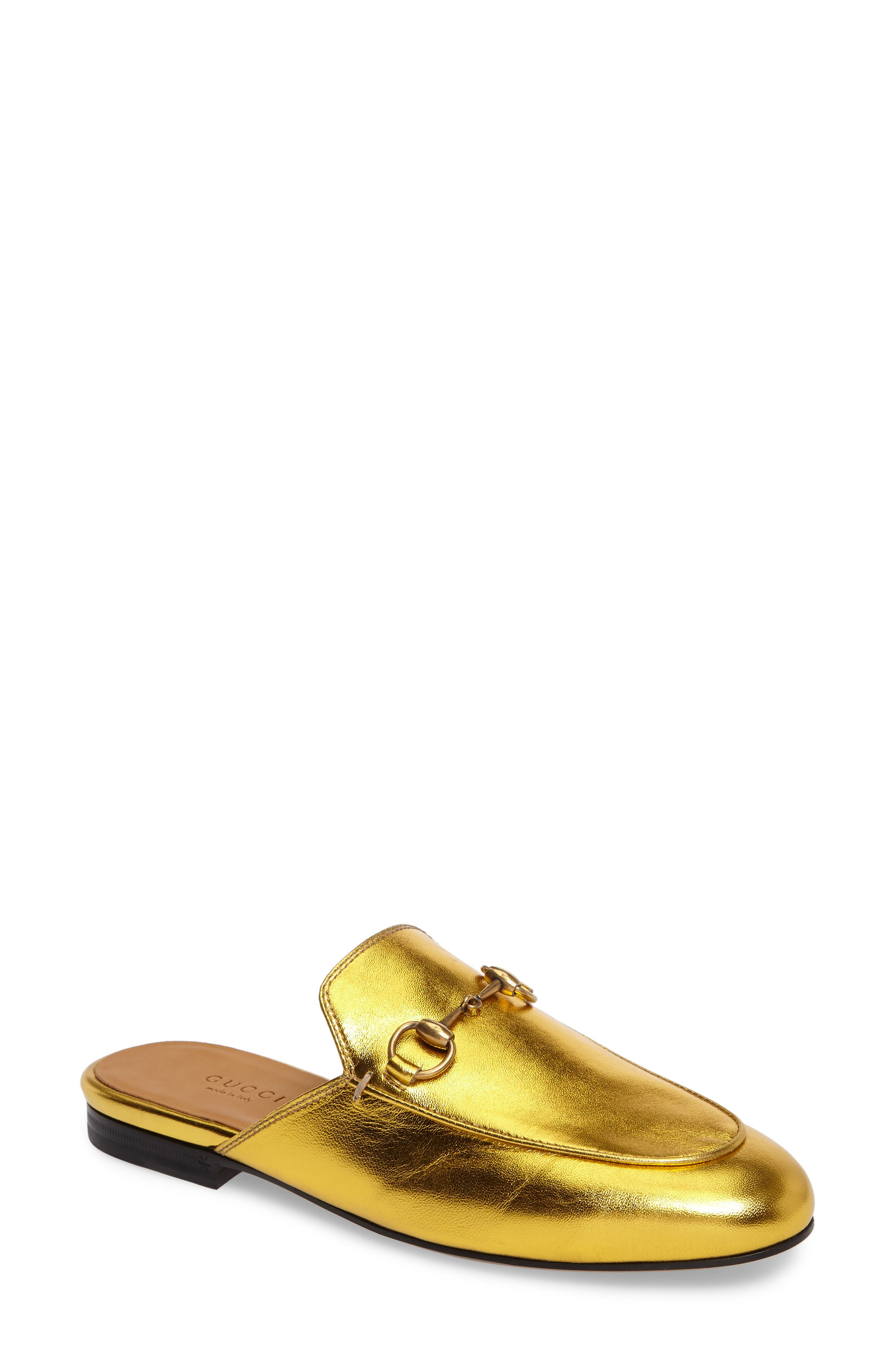 Princetown Loafer Mule,                         Main,                         color, Metallic Gold Leather