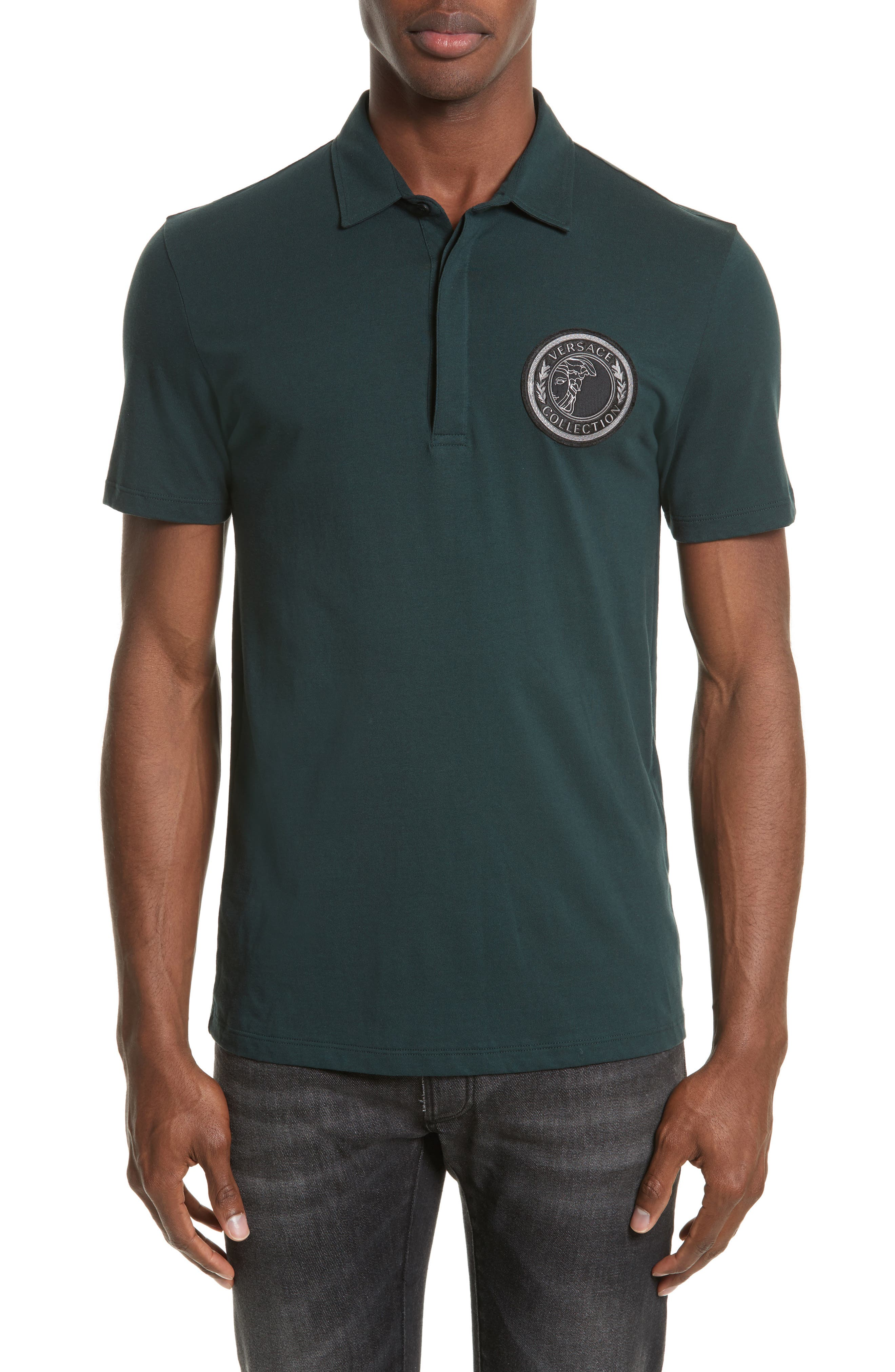 Crest Patch Jersey Polo,                             Main thumbnail 1, color,                             Jungle Green