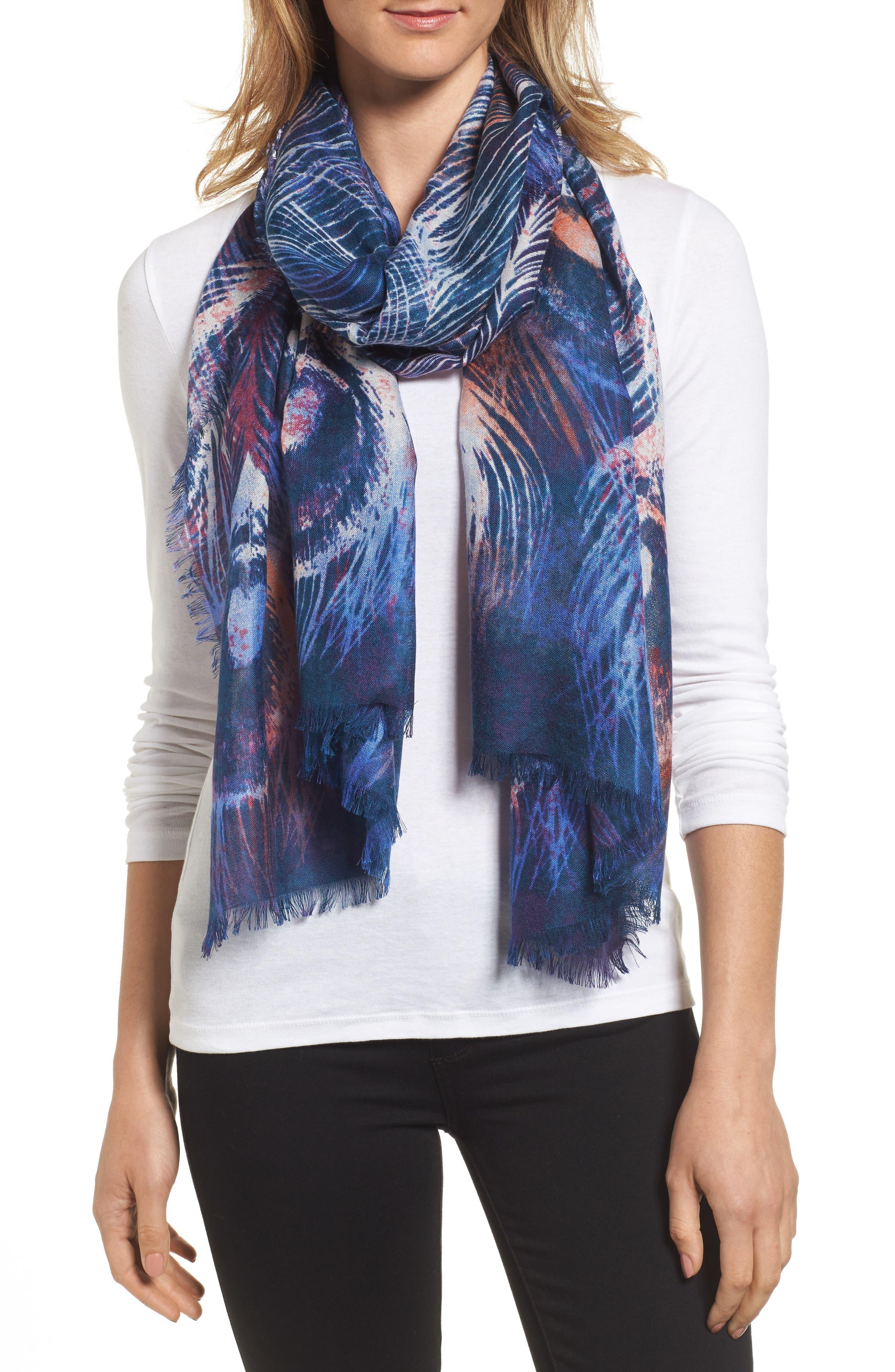 NORDSTROM Modern Peacock Silk & Cashmere Scarf