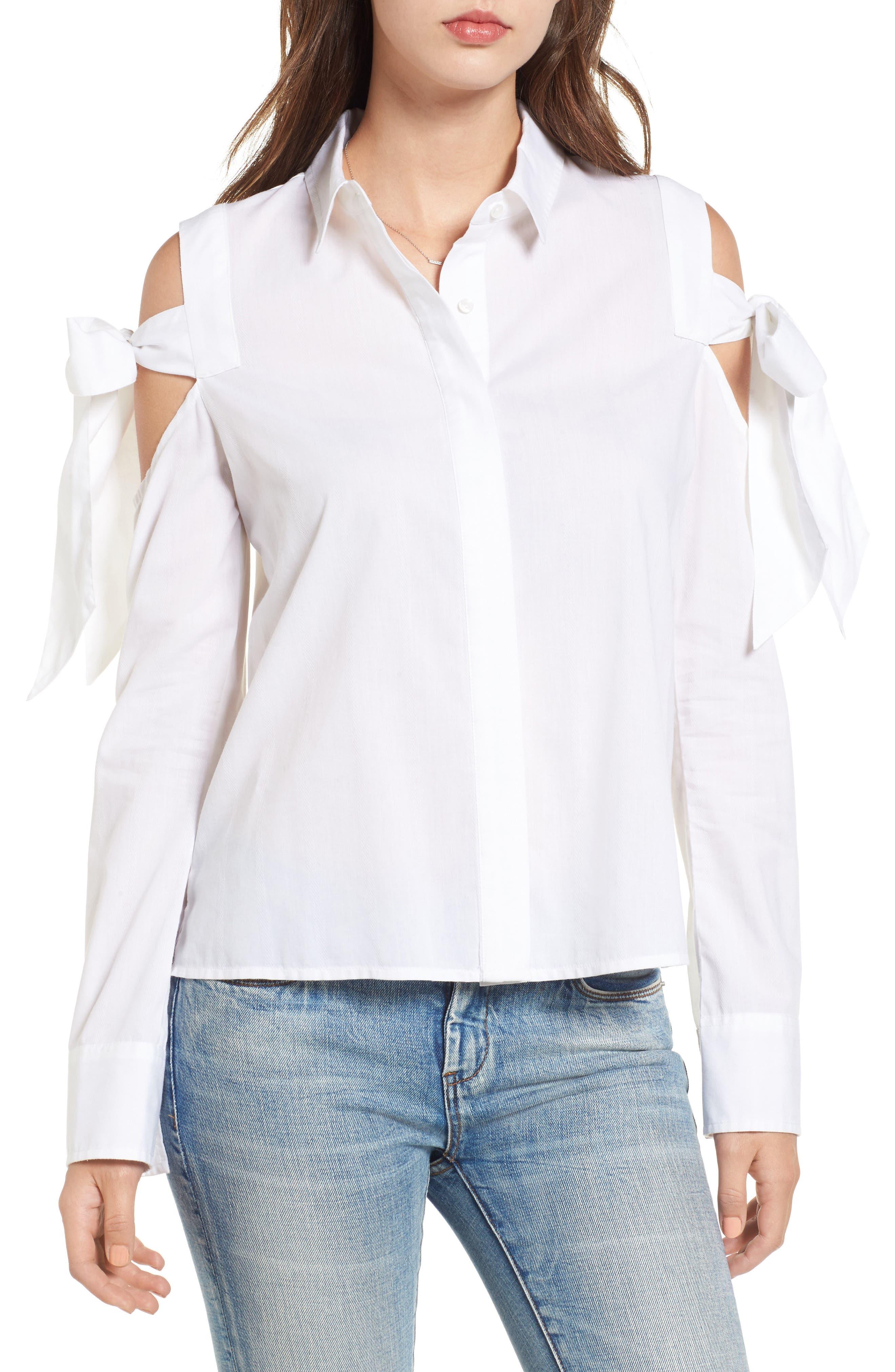 Main Image - BP. Bow Sleeve Cold Shoulder Shirt