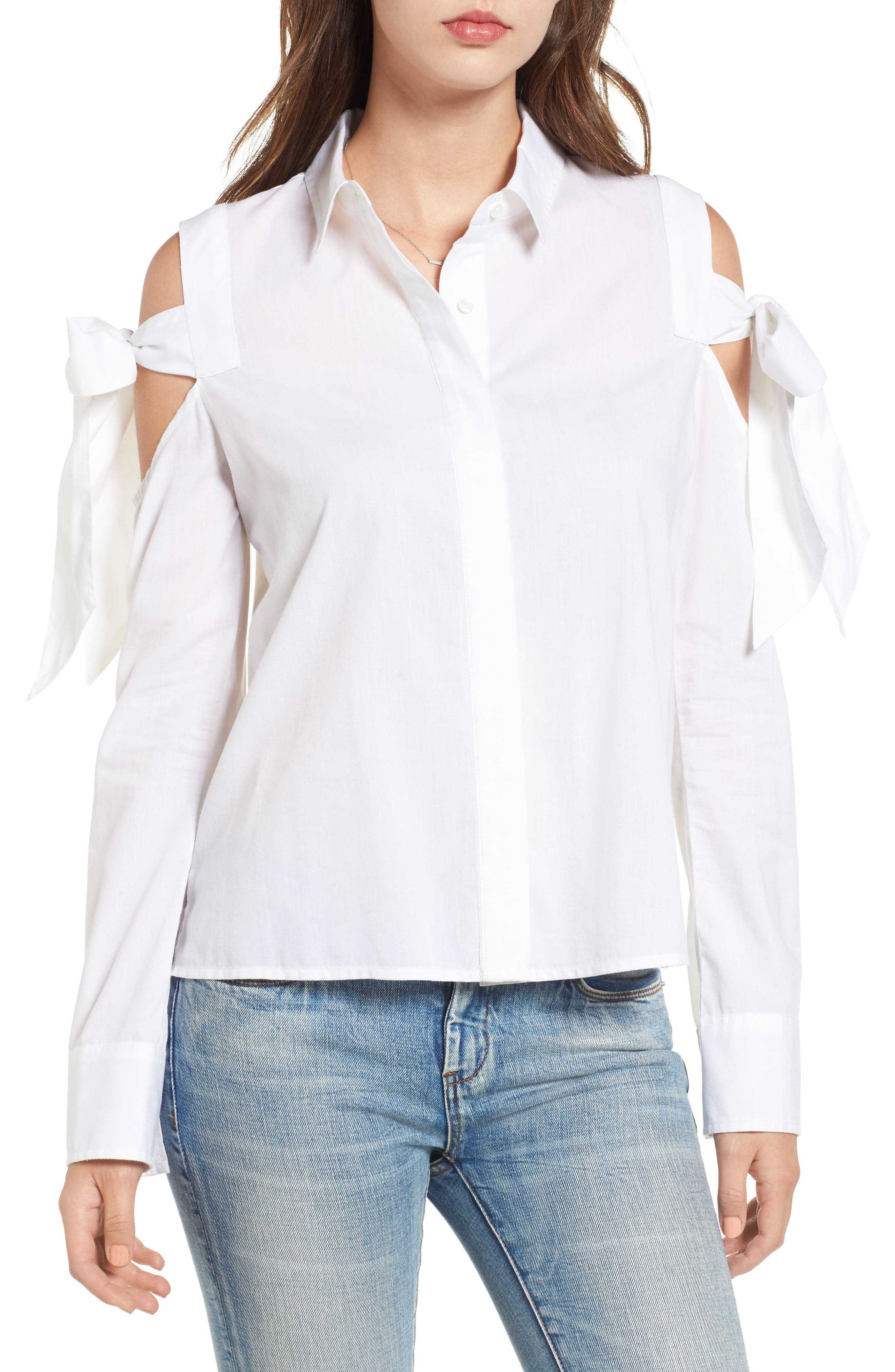 Bow Sleeve Cold Shoulder Shirt,                         Main,                         color, White