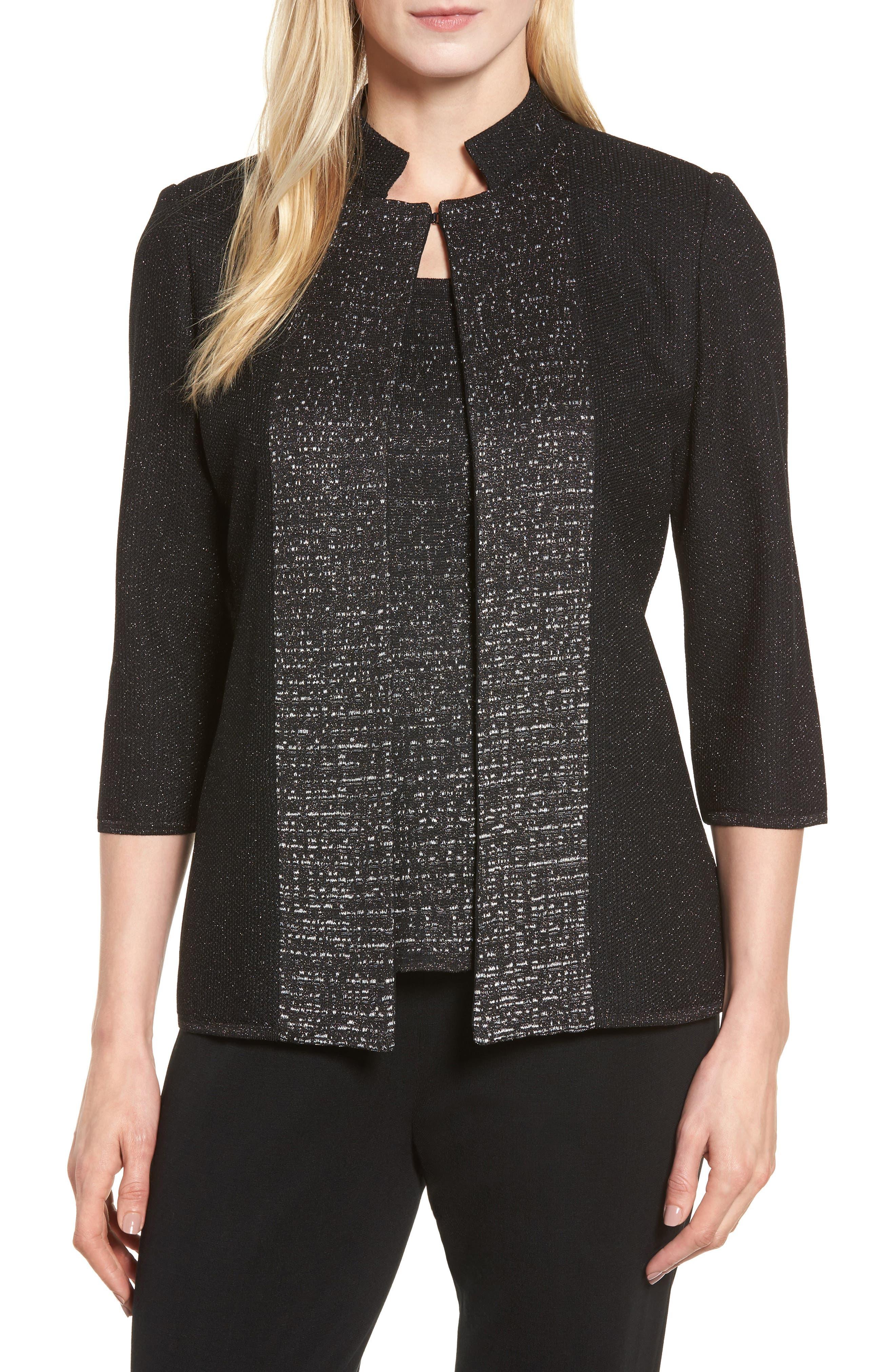 Metallic Knit Jacket,                         Main,                         color, Black/ Silver