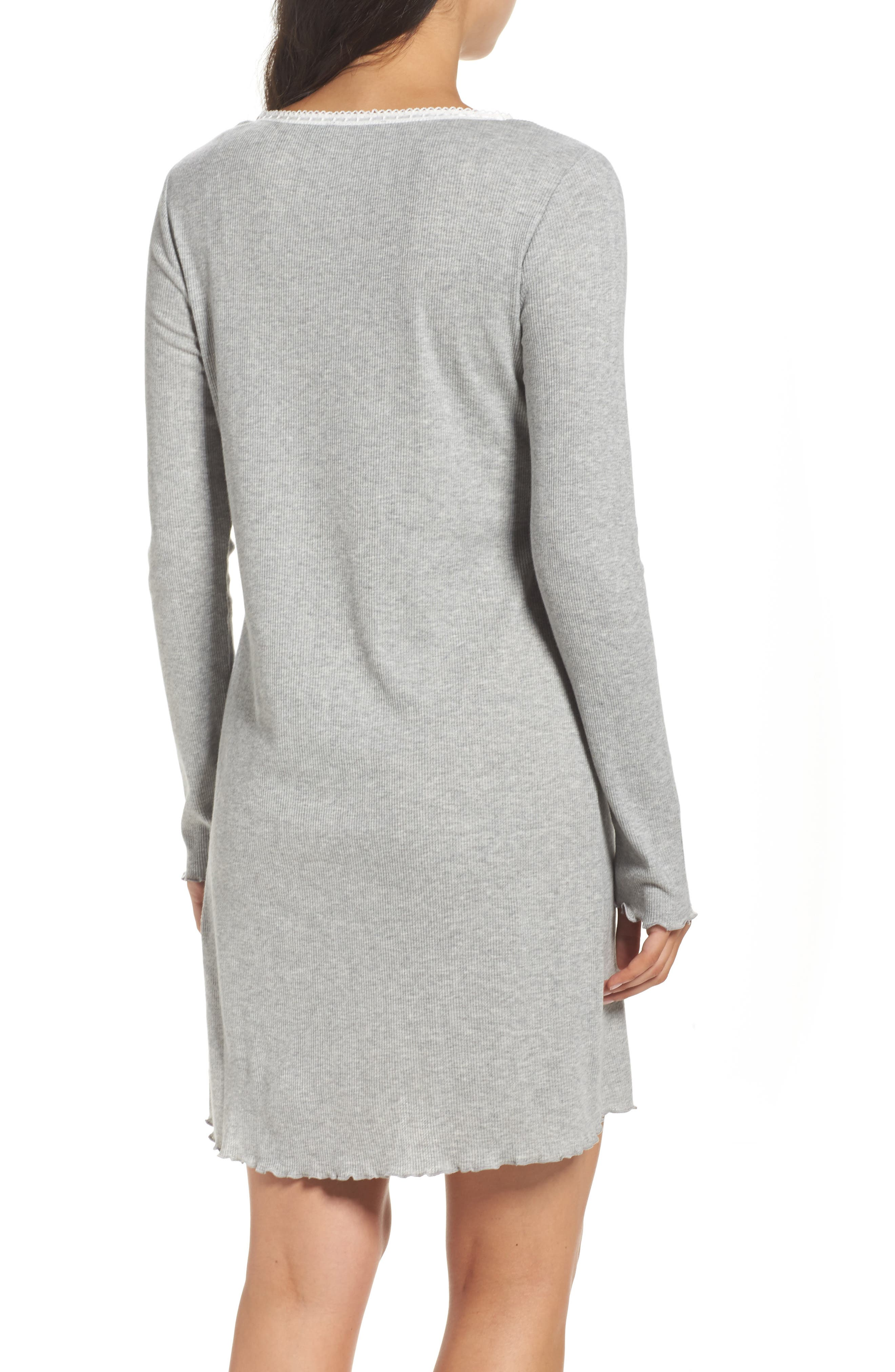 Lace Neck Sleep Shirt,                             Alternate thumbnail 2, color,                             Grey Heather