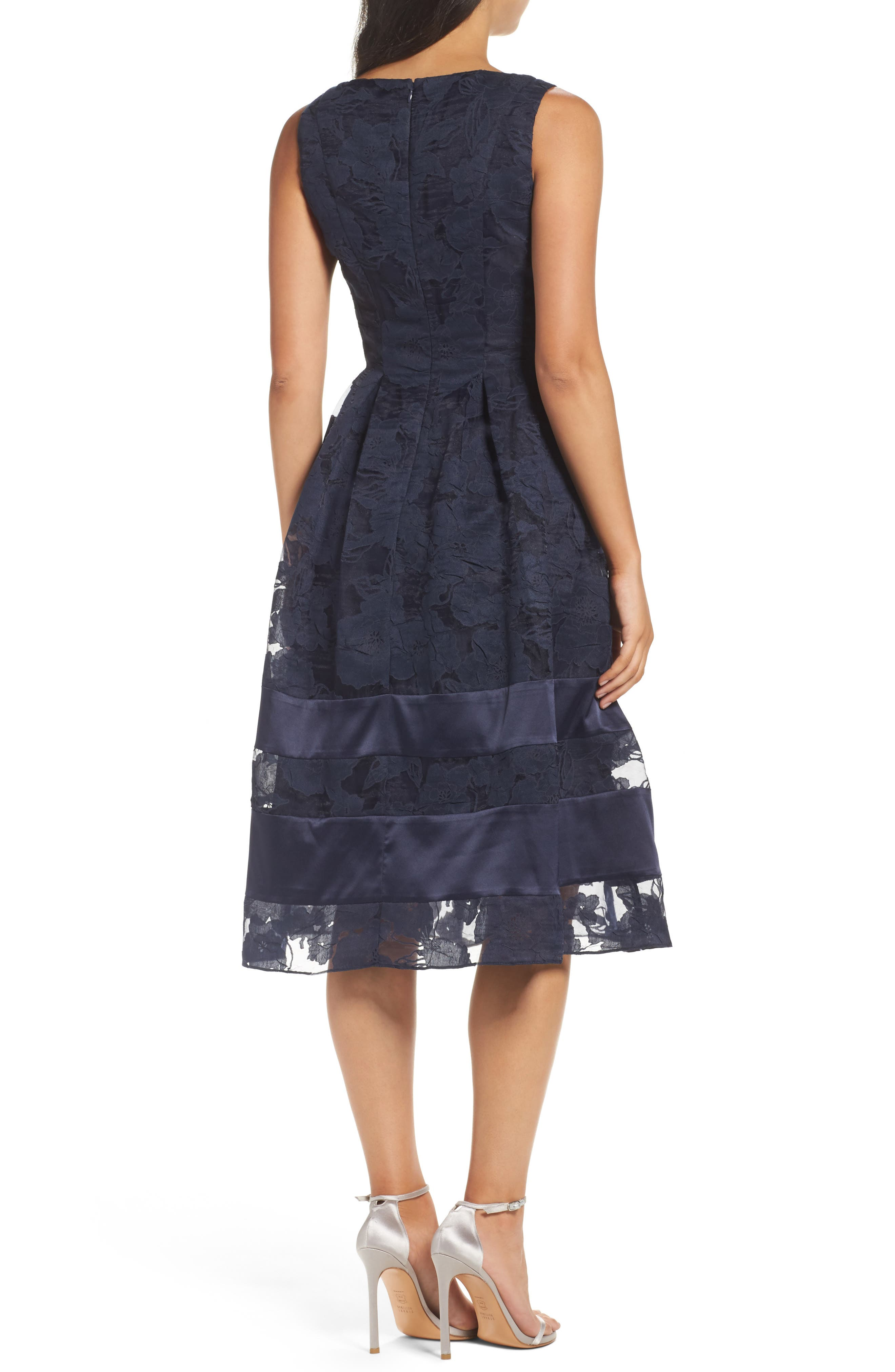 Lace Fit & Flare Dress,                             Alternate thumbnail 3, color,                             Navy/ Black