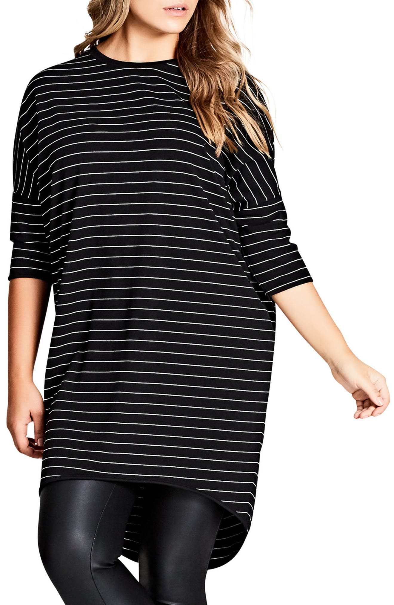 City Chic Stripe Oversize Tee (Plus Size)
