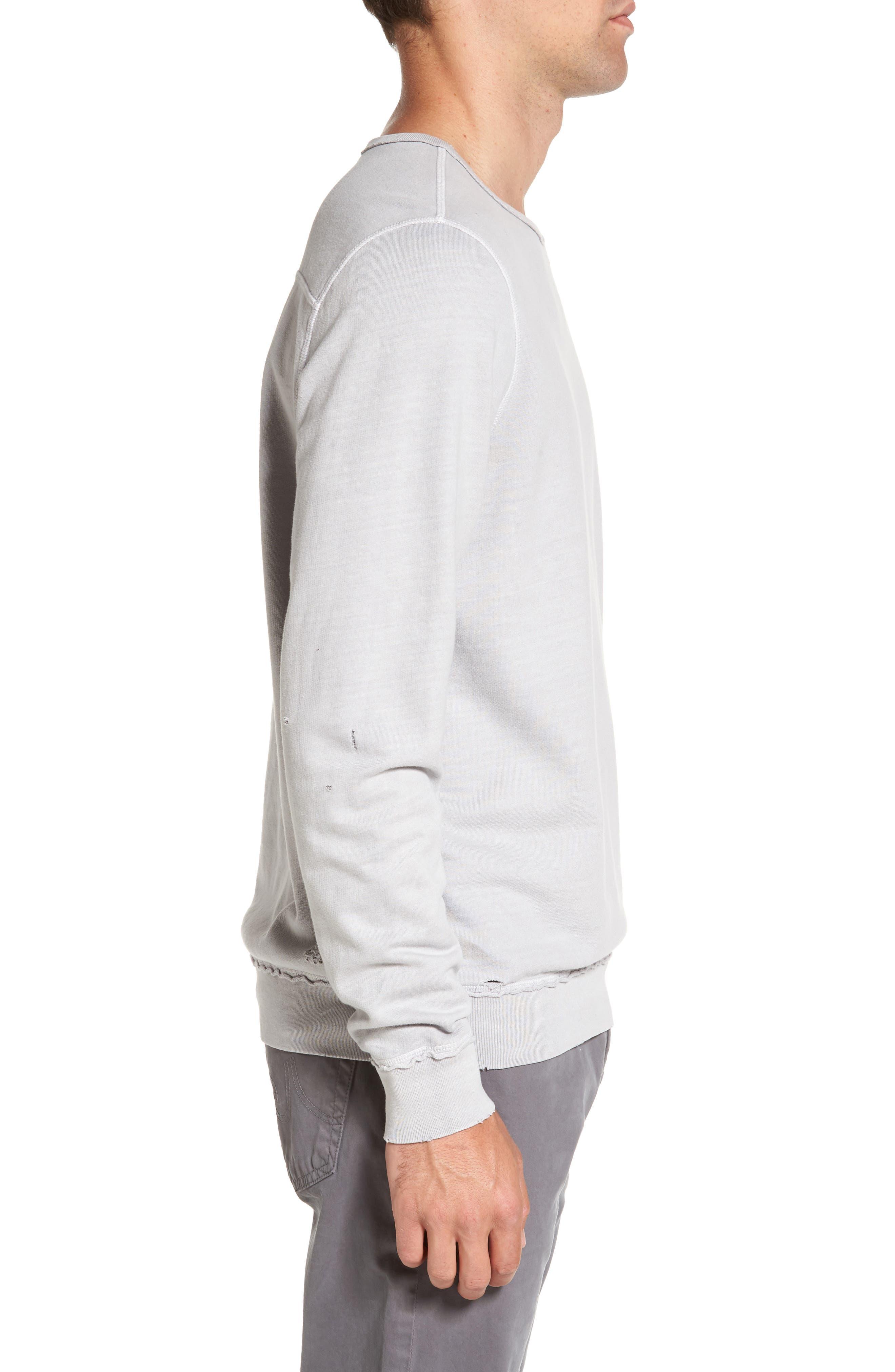 Brendan Raw Edge Crewneck Sweatshirt,                             Alternate thumbnail 3, color,                             Pigment Chrome
