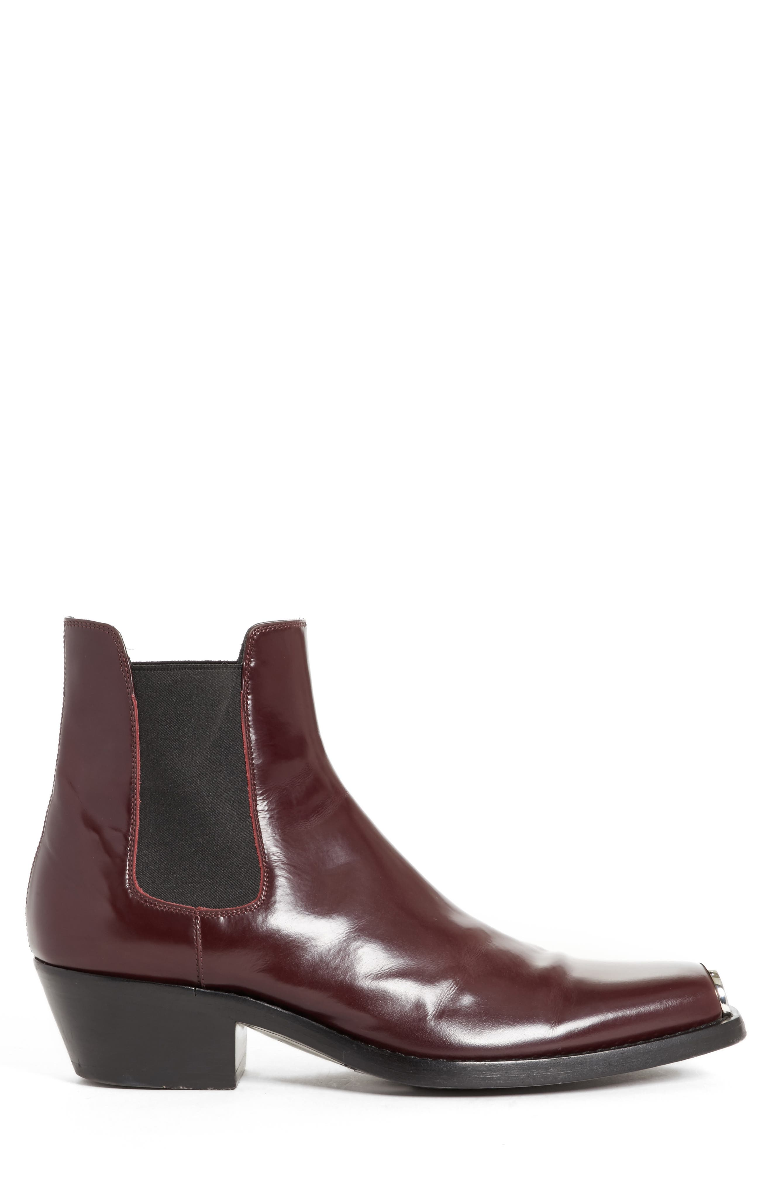 Chris Western Metal Tip Boot,                             Alternate thumbnail 5, color,                             Bordeaux Leather