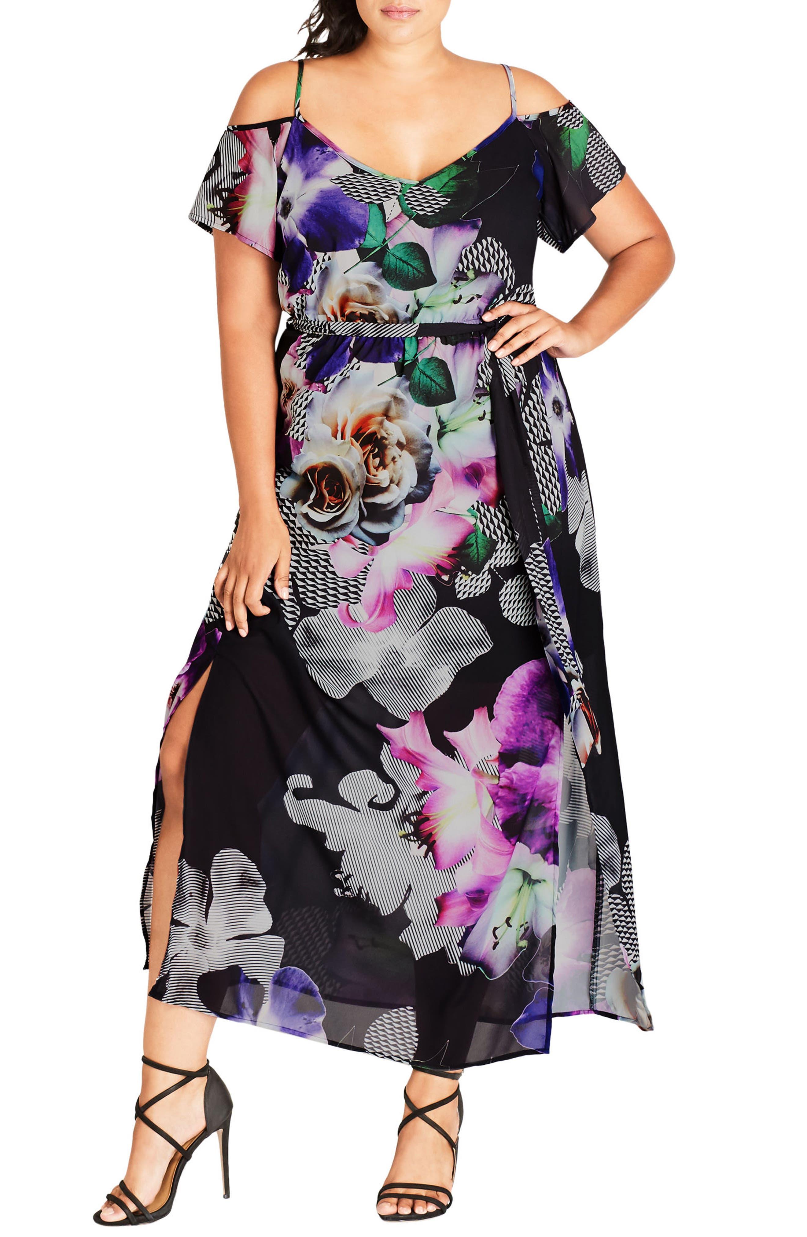 City Chic Floral Print Cold Shoulder Maxi Dress (Plus Size)