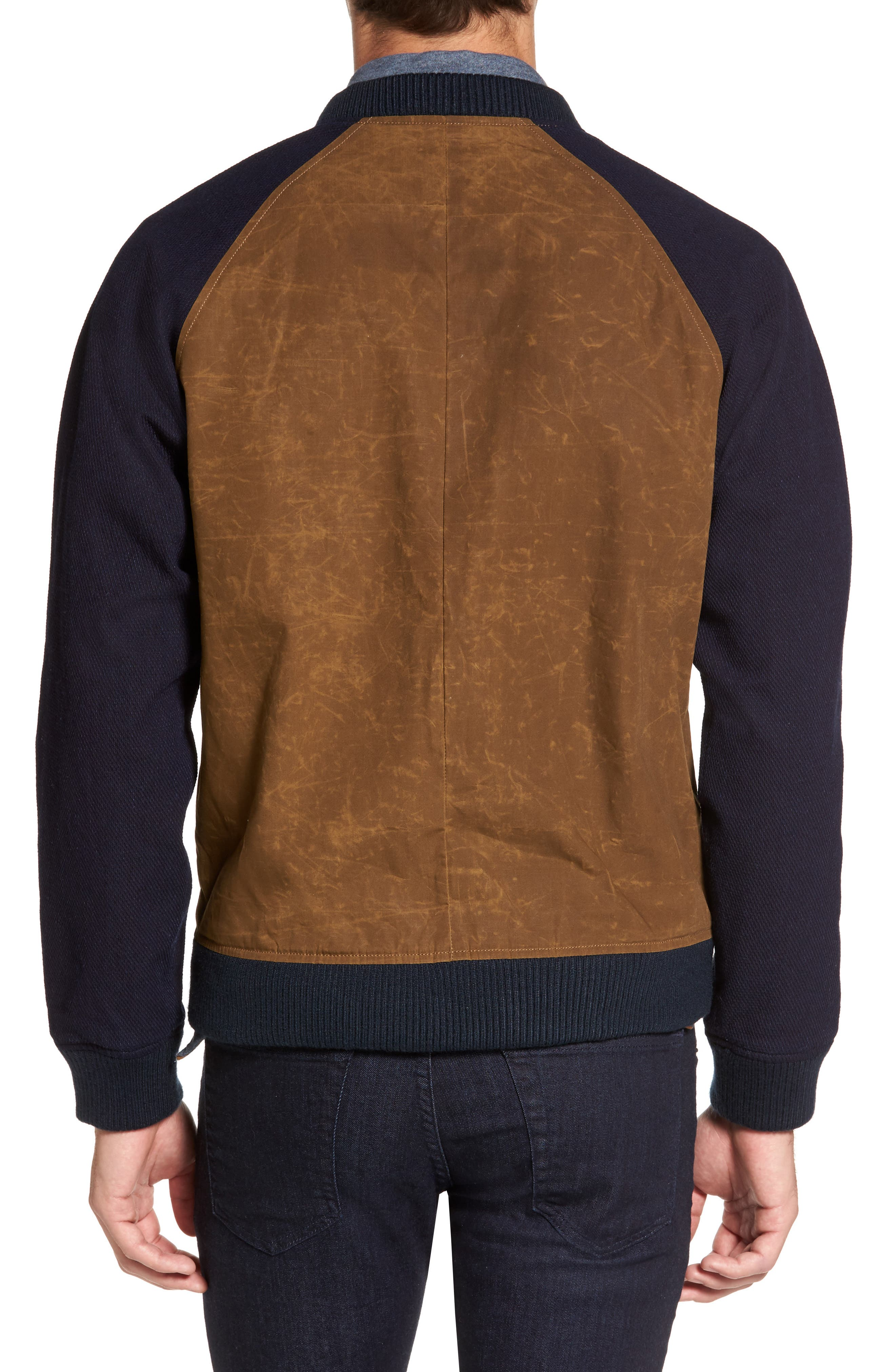 Colorblock Waxed Bomber Jacket,                             Alternate thumbnail 2, color,                             Brown