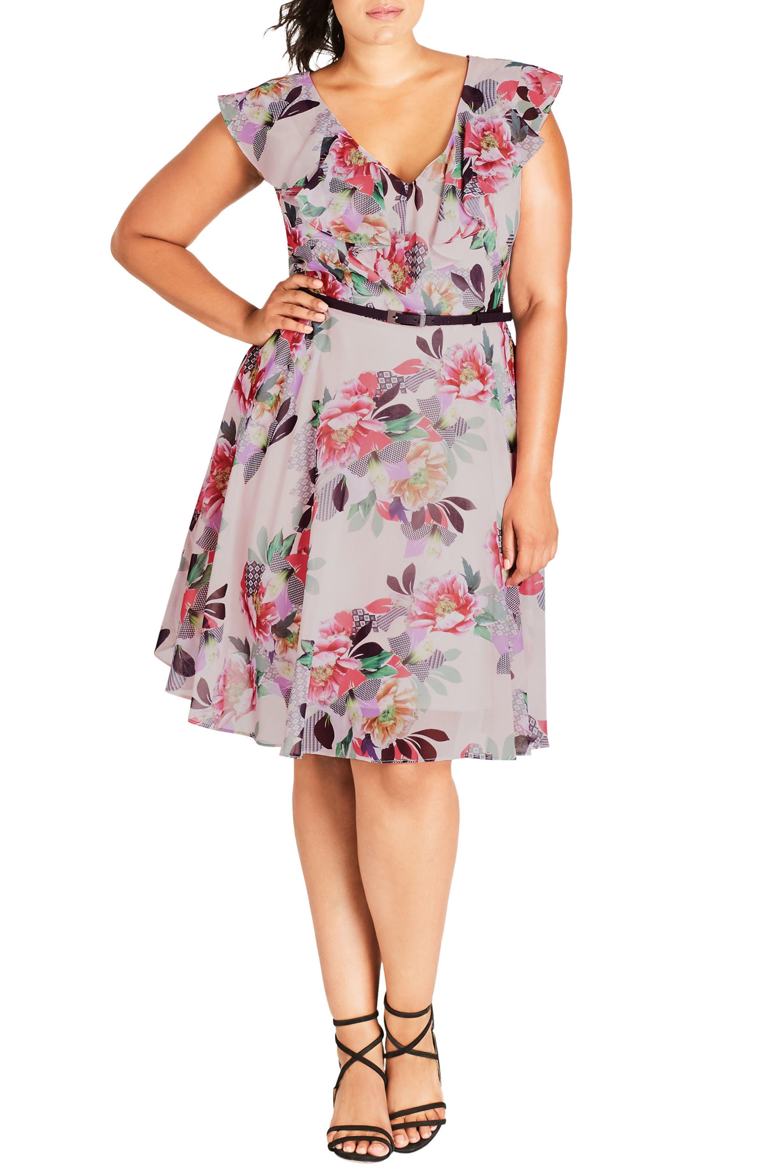 Romance Ruffle Floral Fit & Flare Dress,                             Main thumbnail 1, color,                             Lipstick Floral