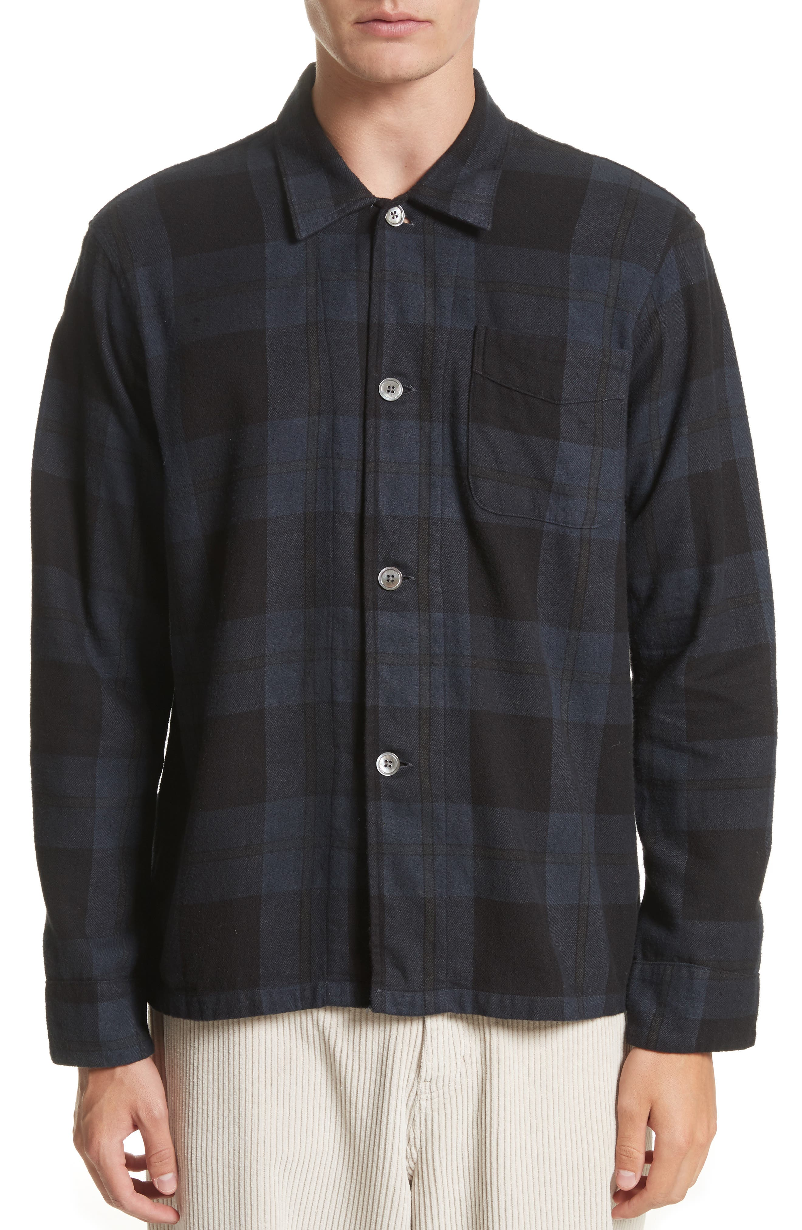 Box Plaid Flannel Sport Shirt,                         Main,                         color, Black