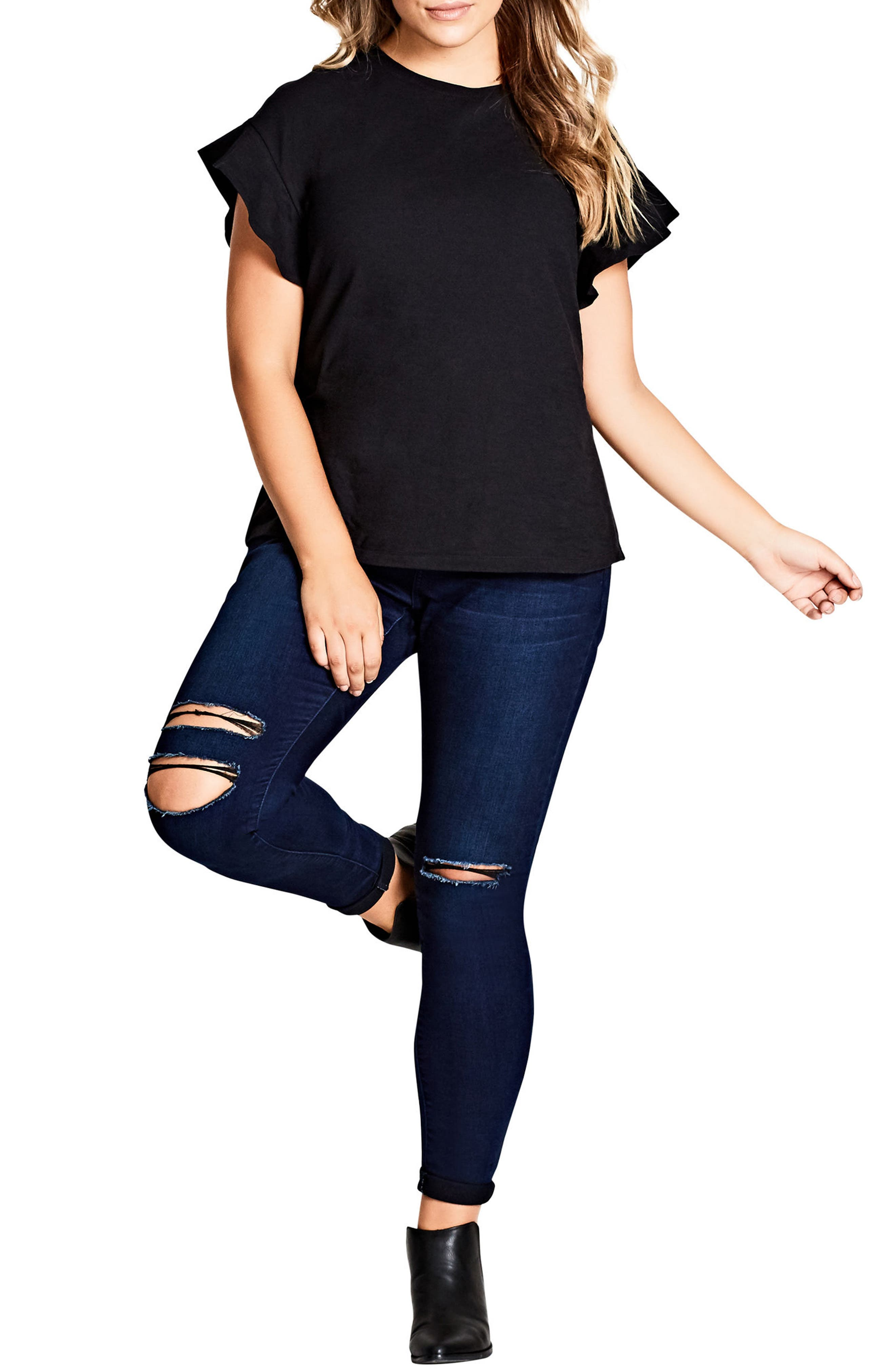 Alternate Image 1 Selected - City Chic Flutter Sleeve Tee (Plus Size)
