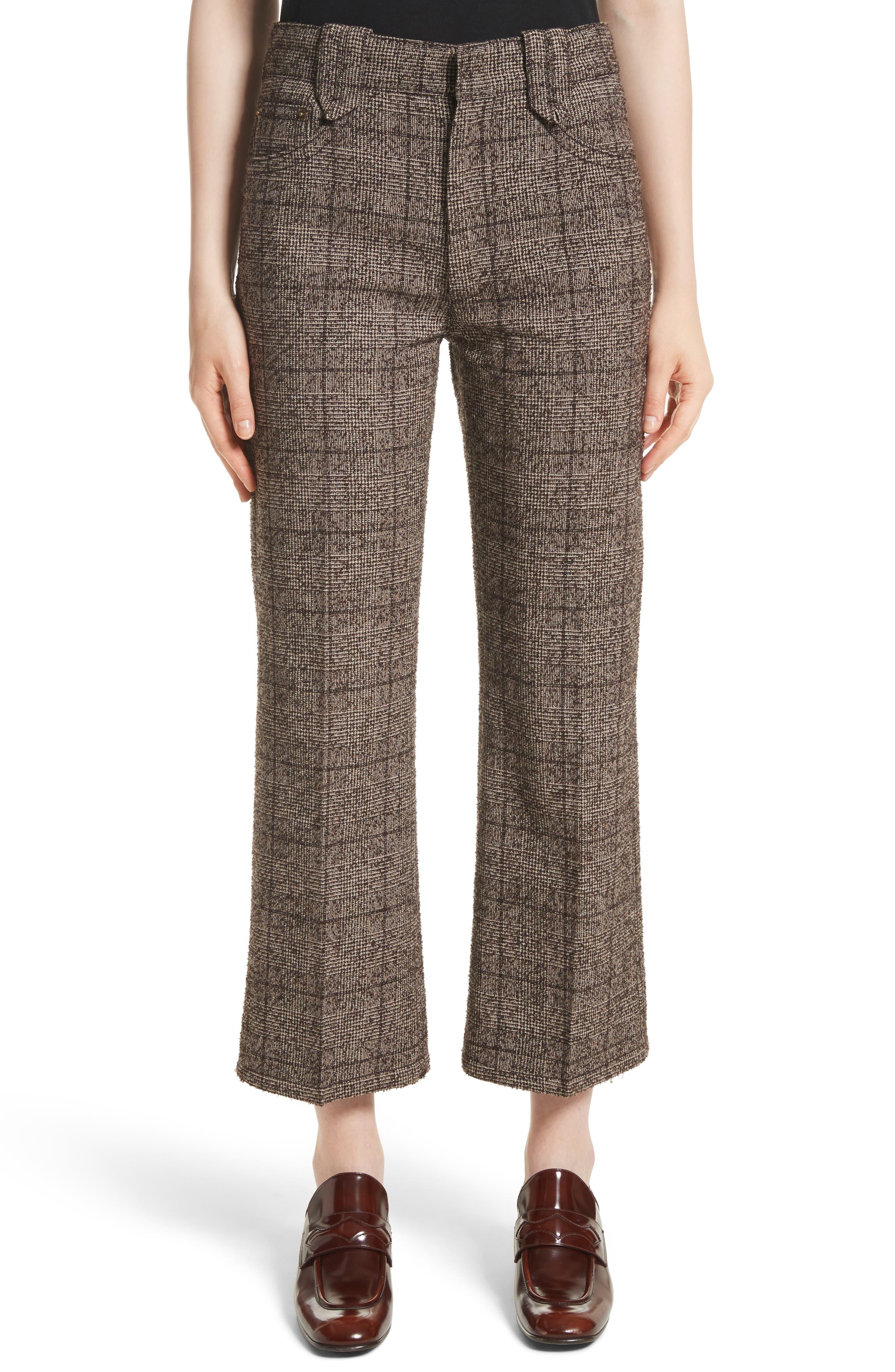 Plaid Tweed Crop Pants,                         Main,                         color, Brown Multi