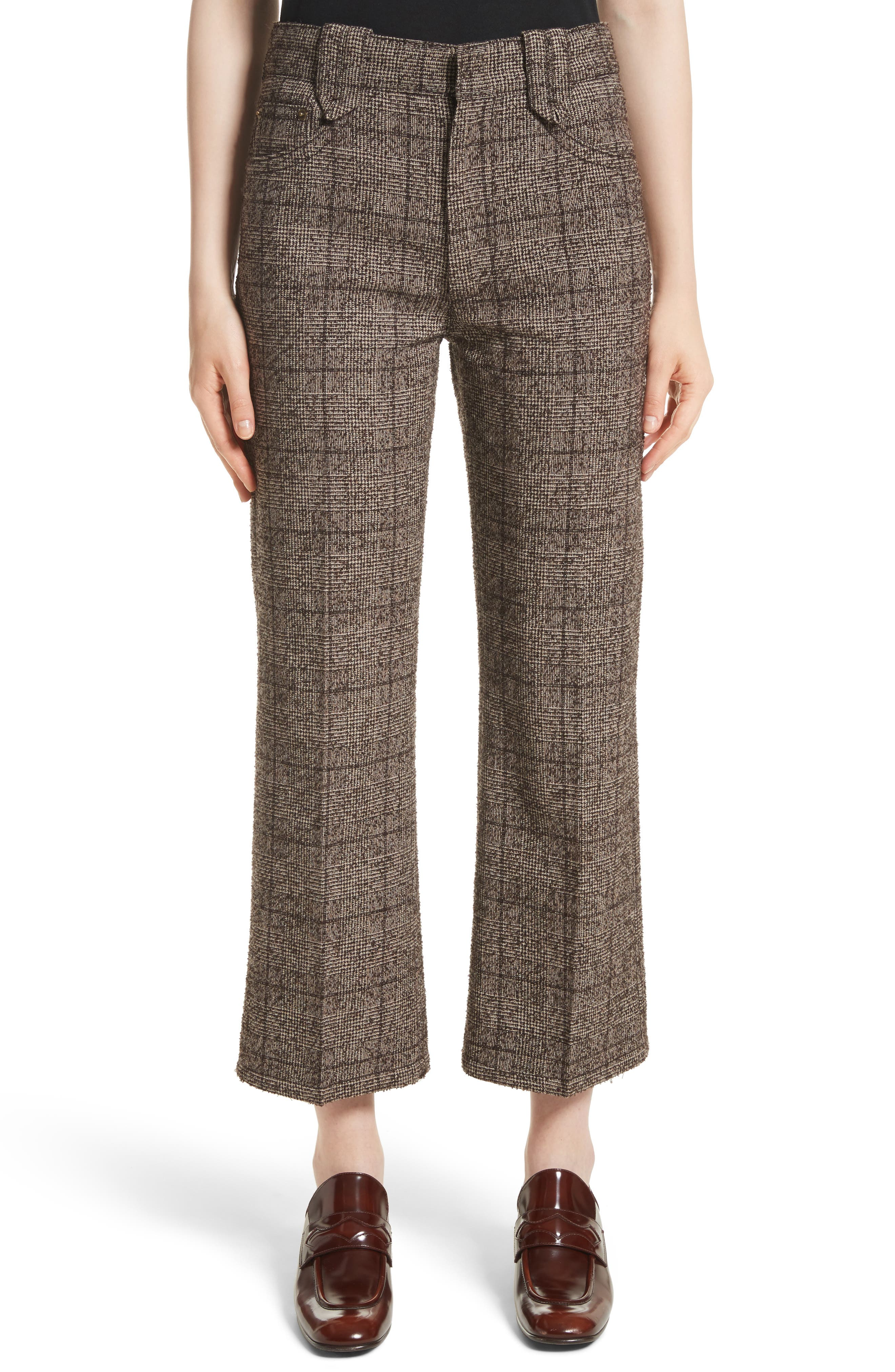 MARC JACOBS Plaid Tweed Crop Pants