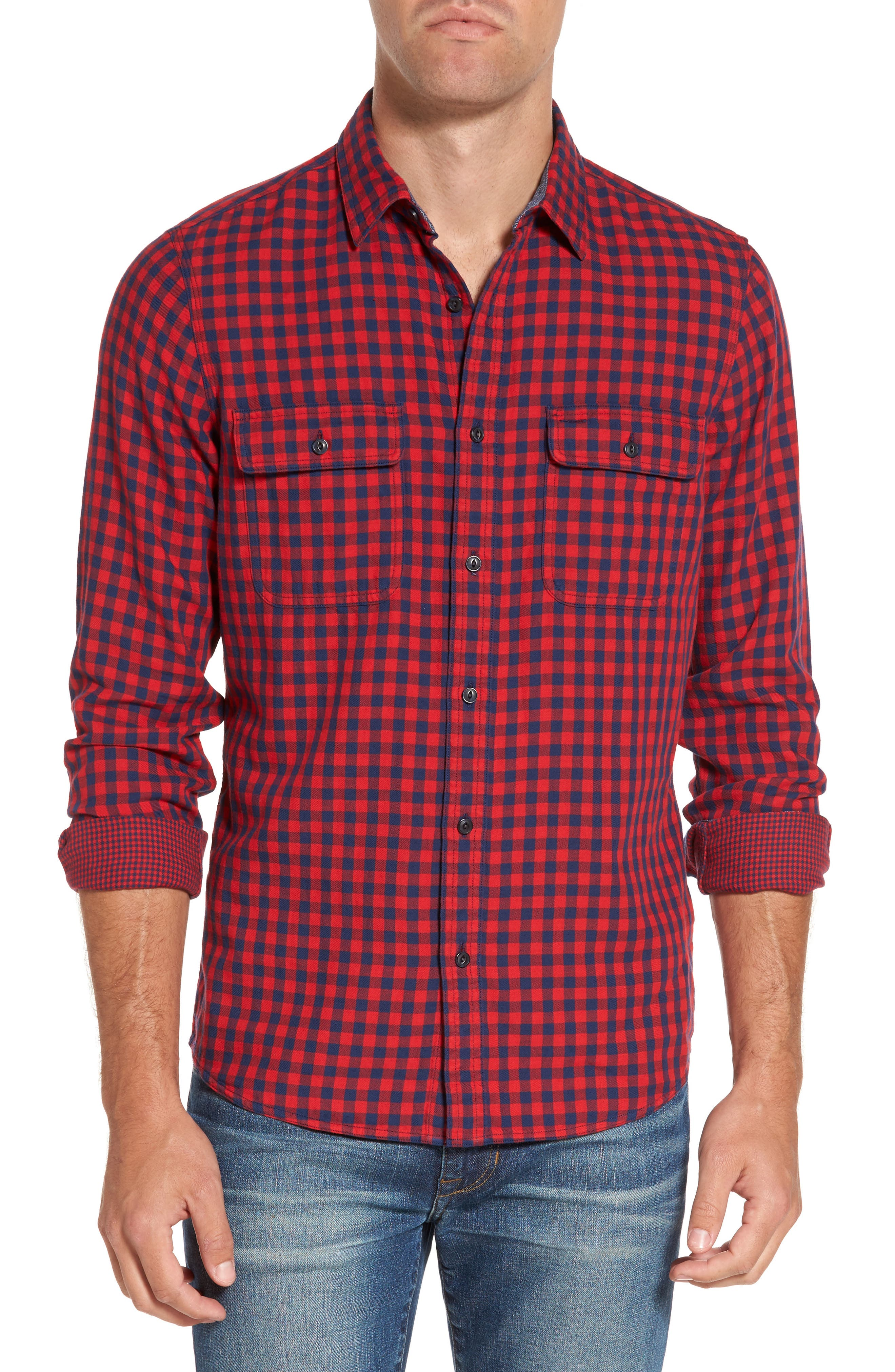 Buffalo Check Trim Fit Sport Shirt,                         Main,                         color, Red Chili Navy Gingham