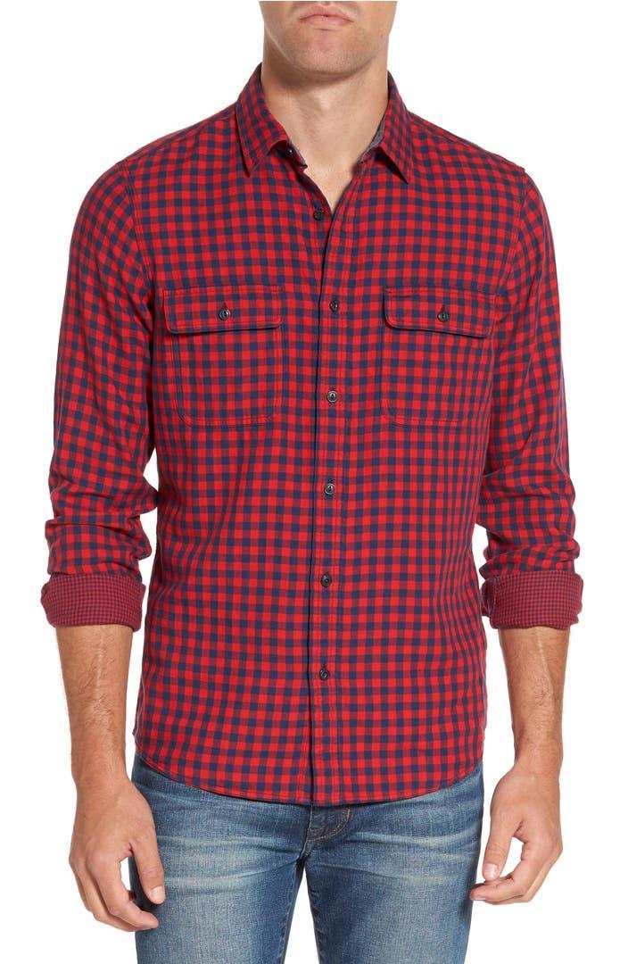 Nordstrom men 39 s shop buffalo check trim fit sport shirt for Buffalo plaid men s shirt