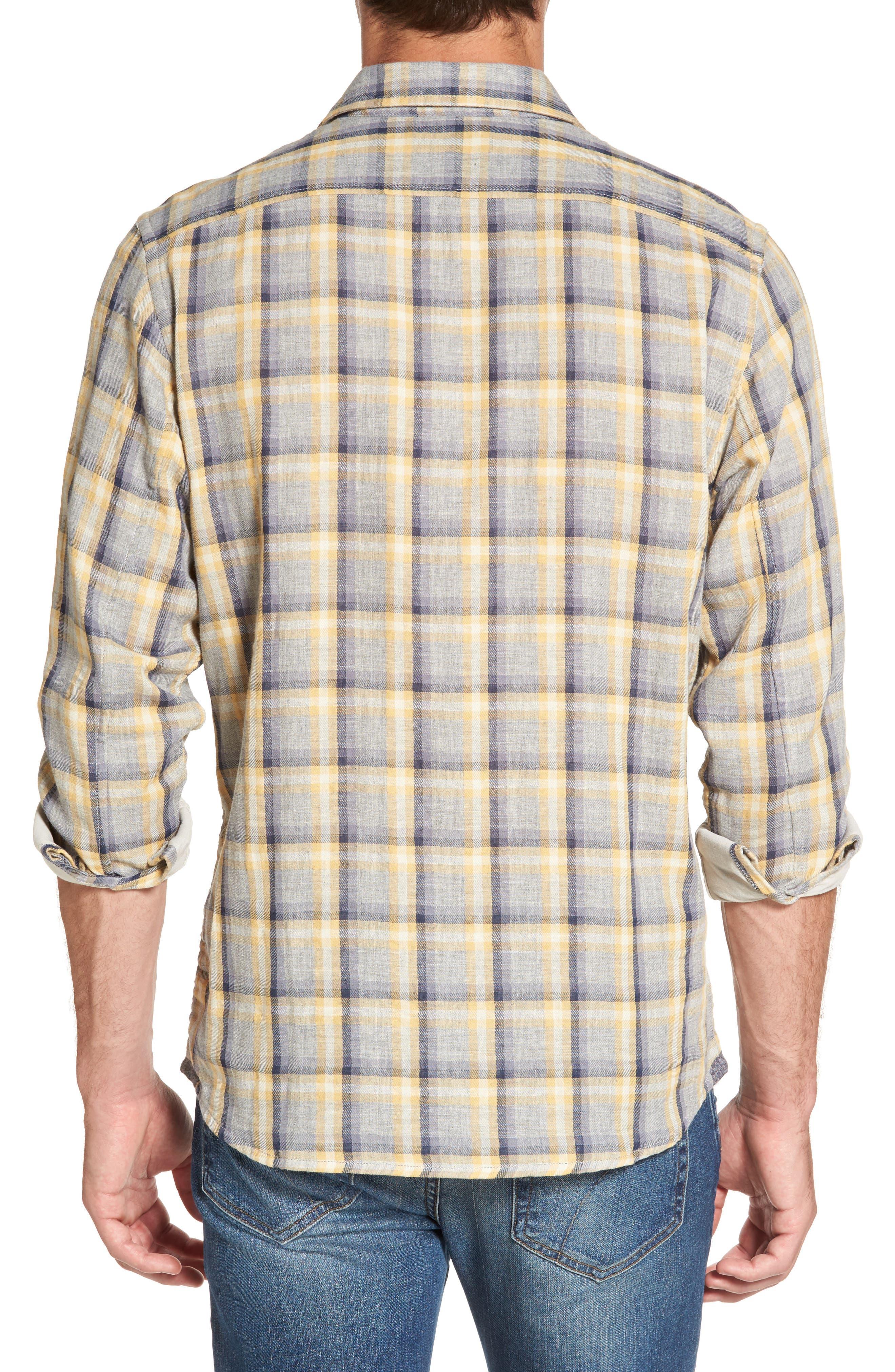 Sheldon Modern Fit Double Cloth Windowpane Sport Shirt,                             Alternate thumbnail 2, color,                             Yellow Stone Gray