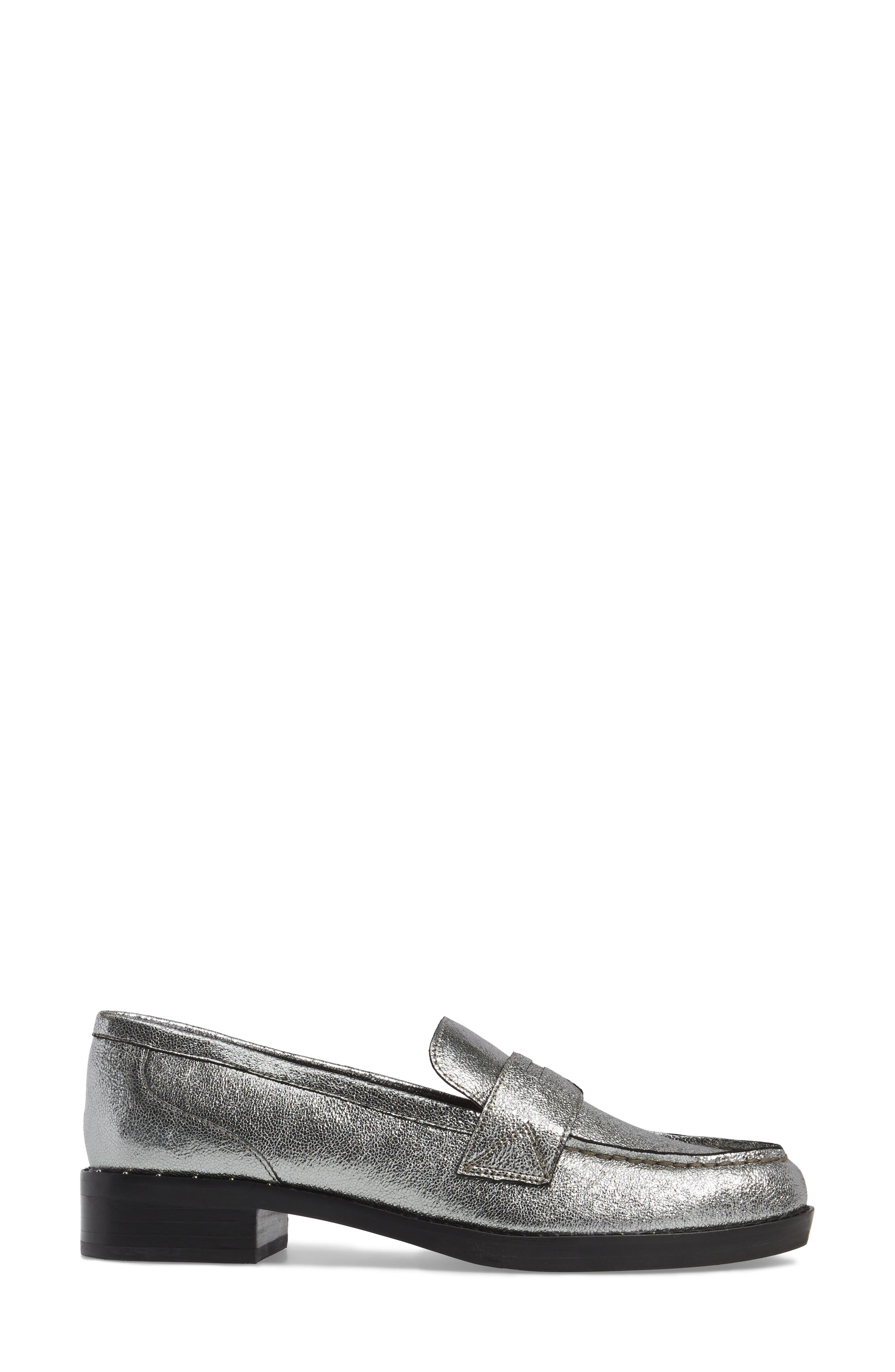 Vero Penny Loafer,                             Alternate thumbnail 3, color,                             Pewter Leather