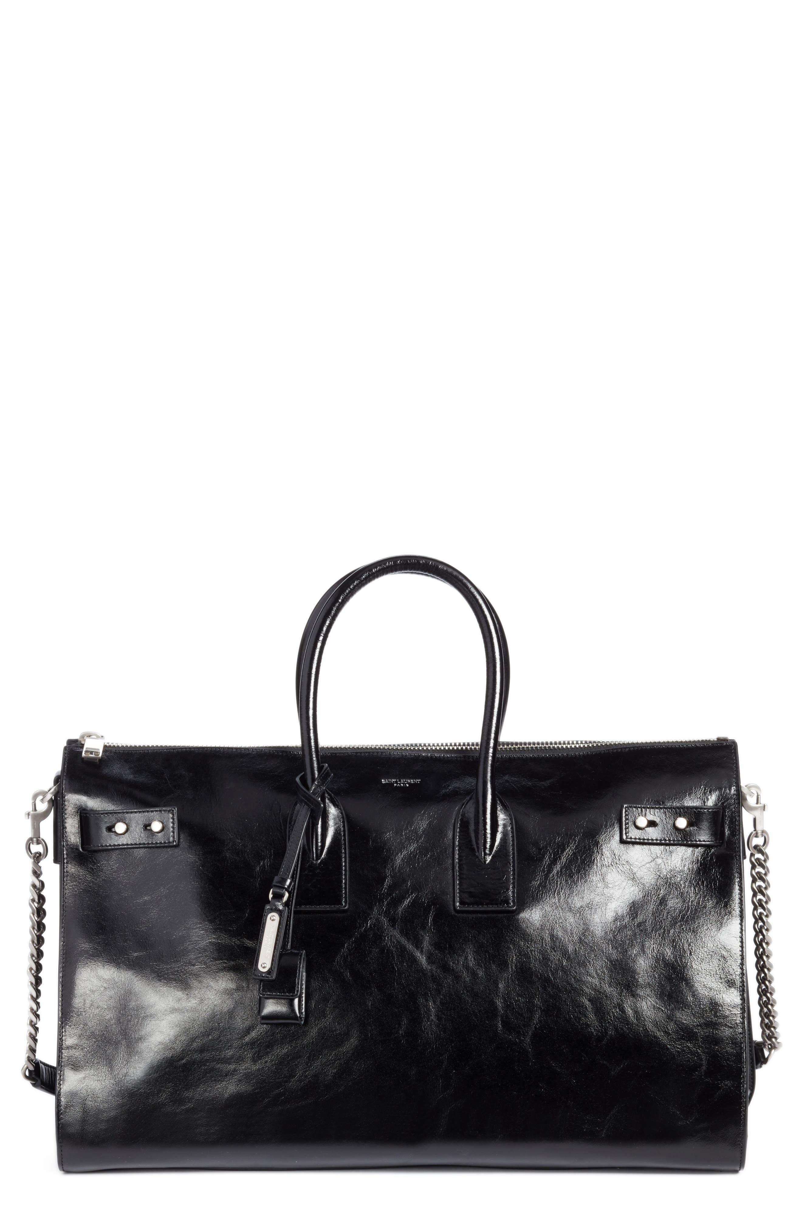 SAINT LAURENT Sac de Jour Glacé Moroder Leather Duffel