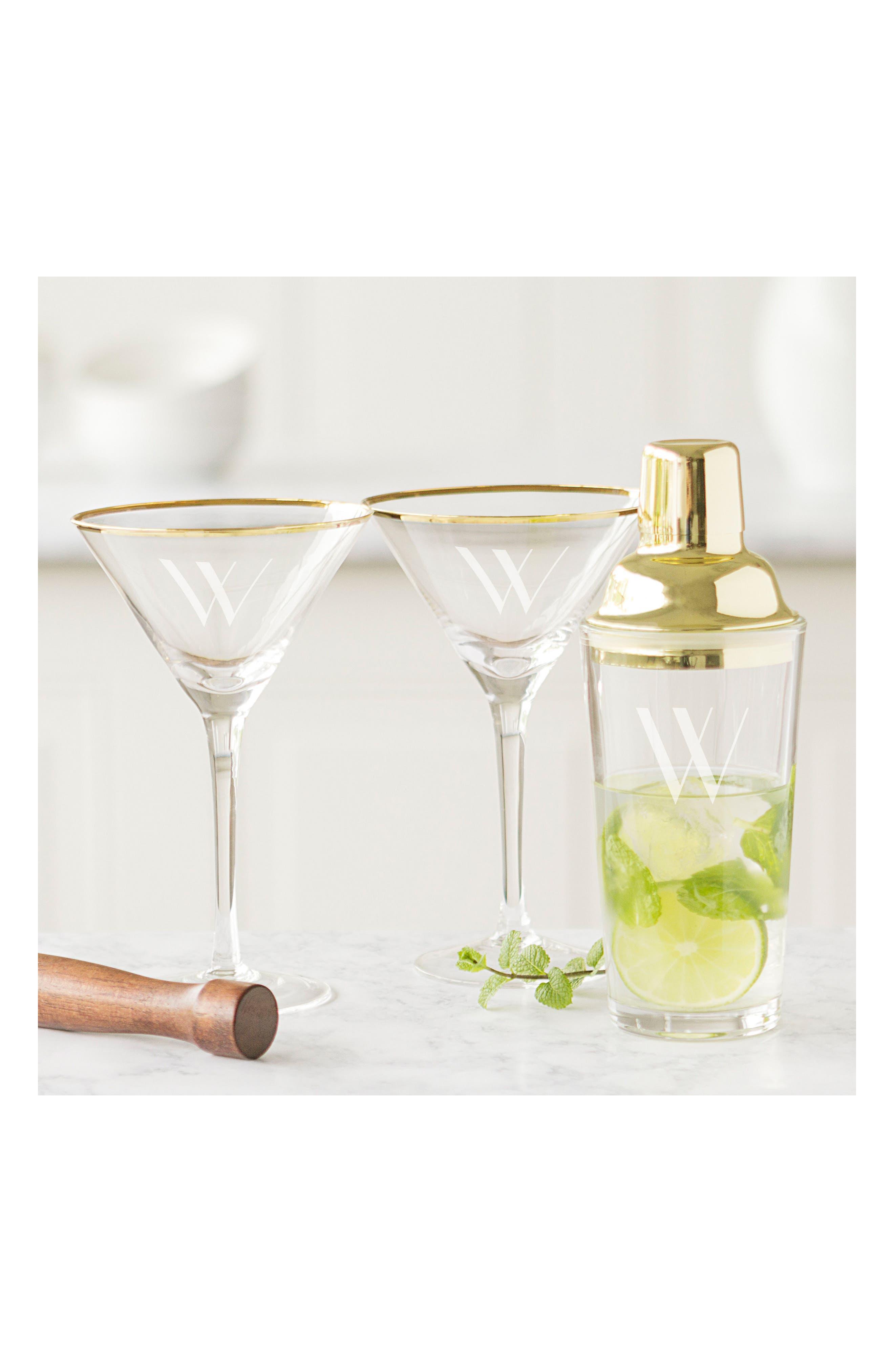 Monogram Martini Glasses & Goldtone Cocktail Shaker,                             Alternate thumbnail 7, color,