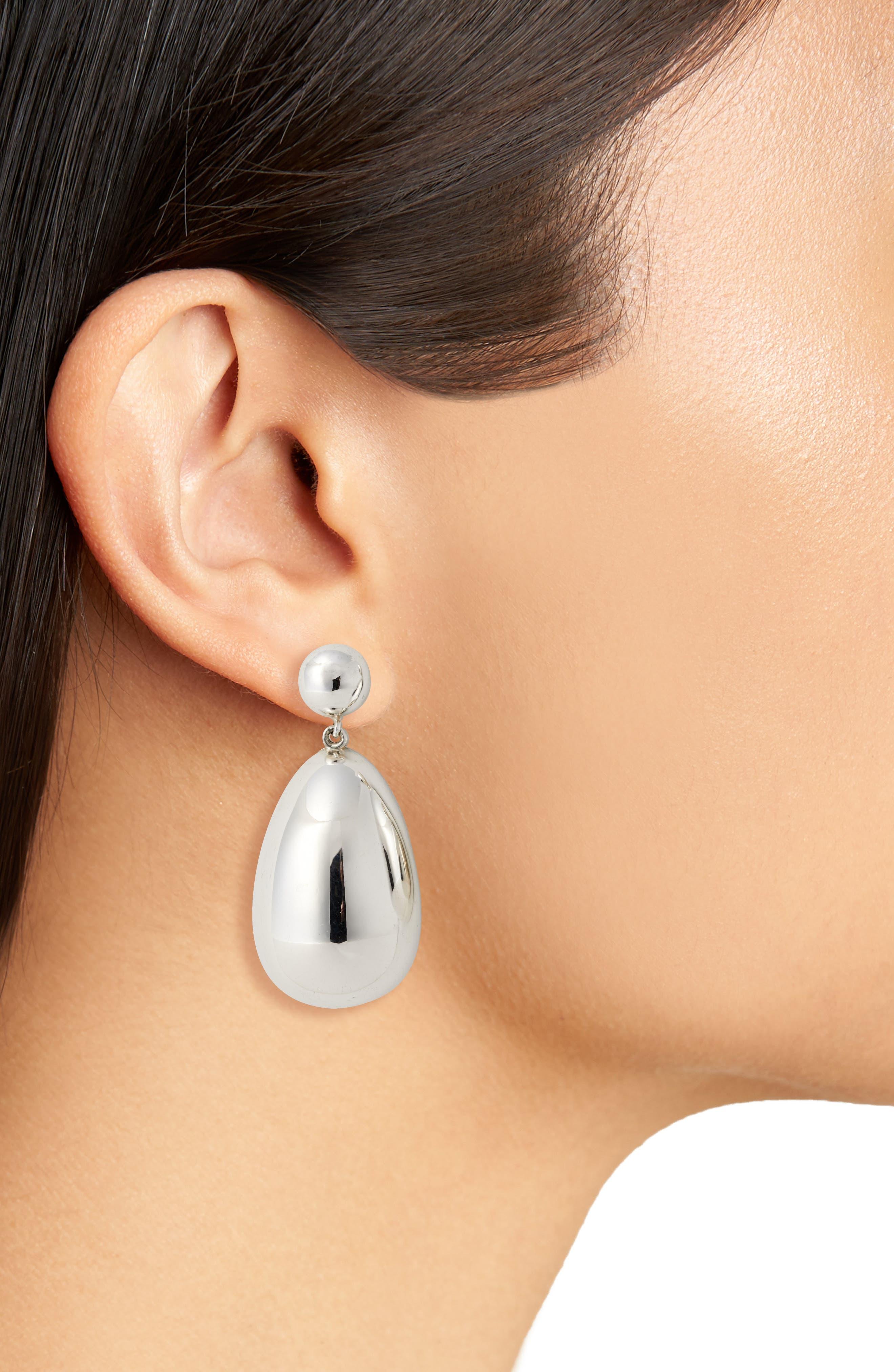 Silver Egg Drop Earrings,                             Alternate thumbnail 2, color,                             Sterling Silver
