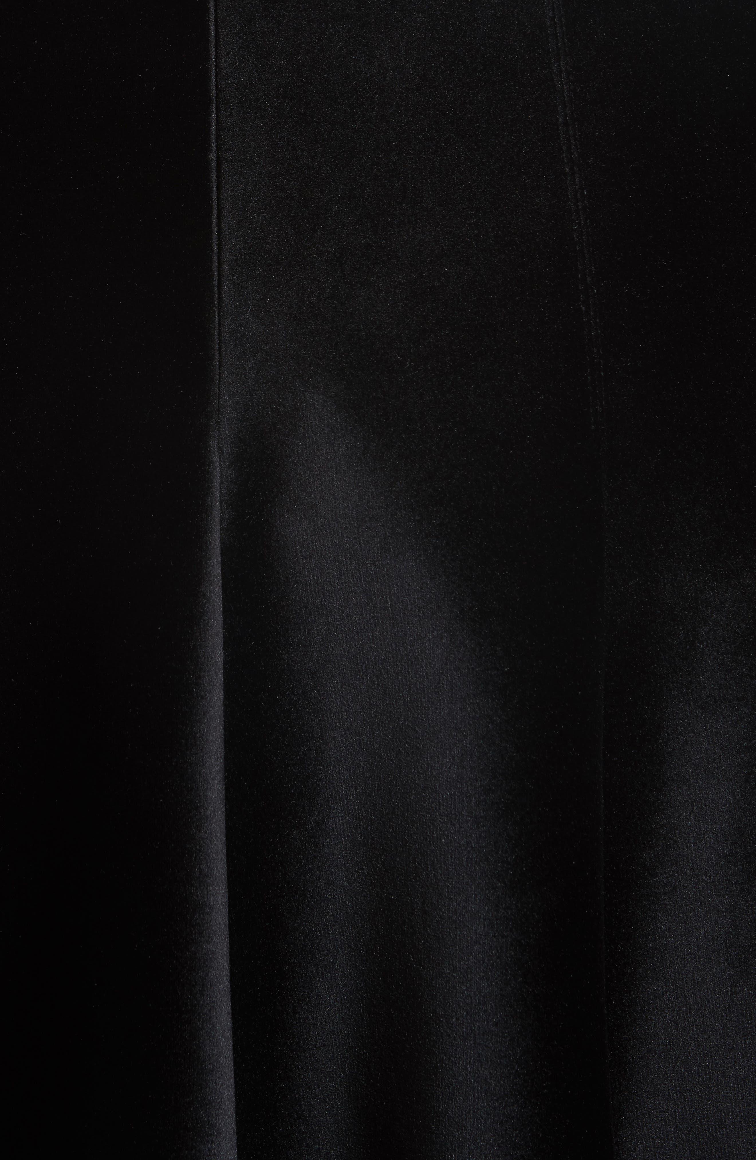 Velvet A-Line Midi Skirt,                             Alternate thumbnail 5, color,                             Black