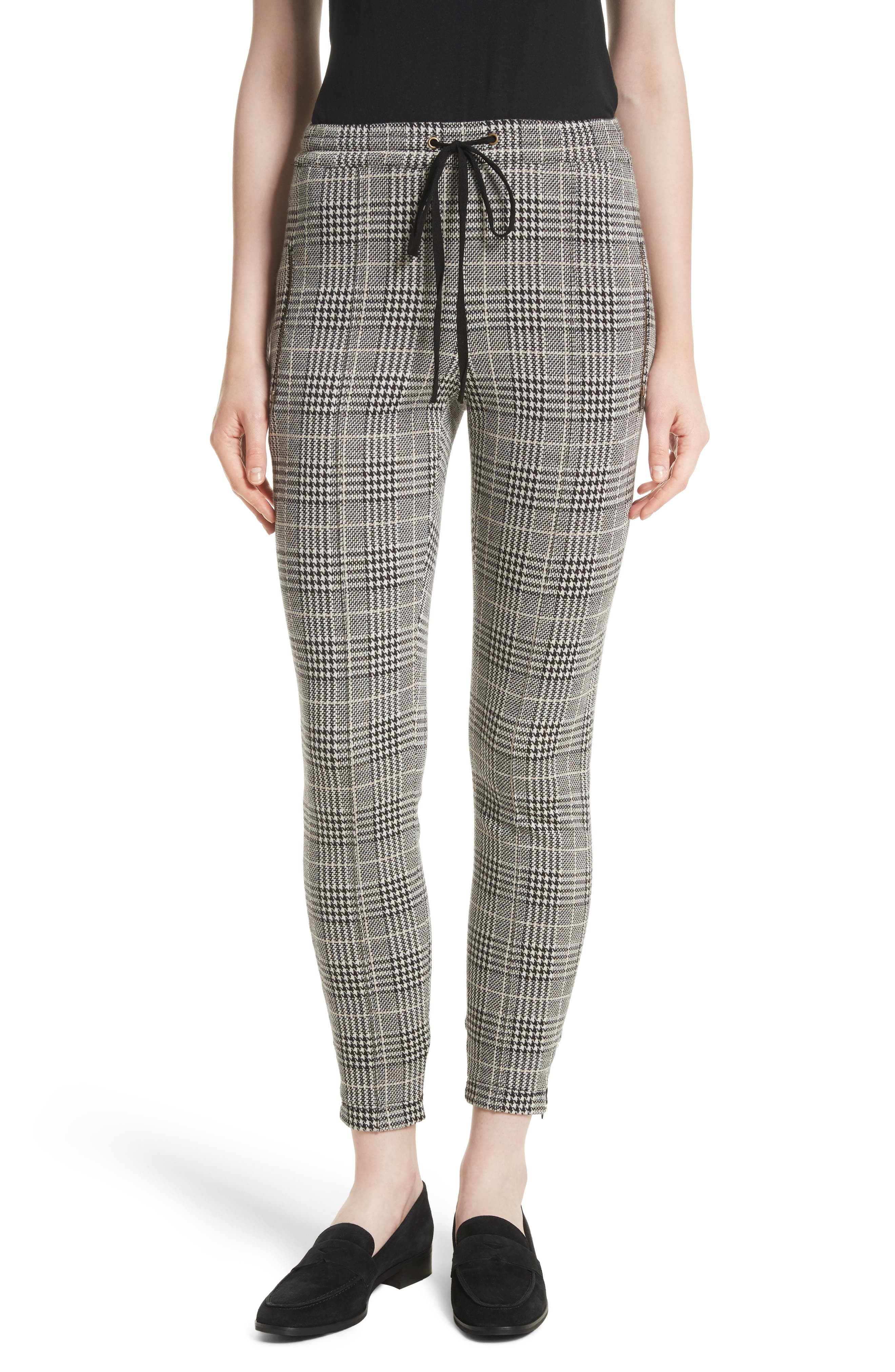 Houndstooth Ankle Skinny Pants,                             Main thumbnail 1, color,                             Black/ Ecru/ Antique Gold