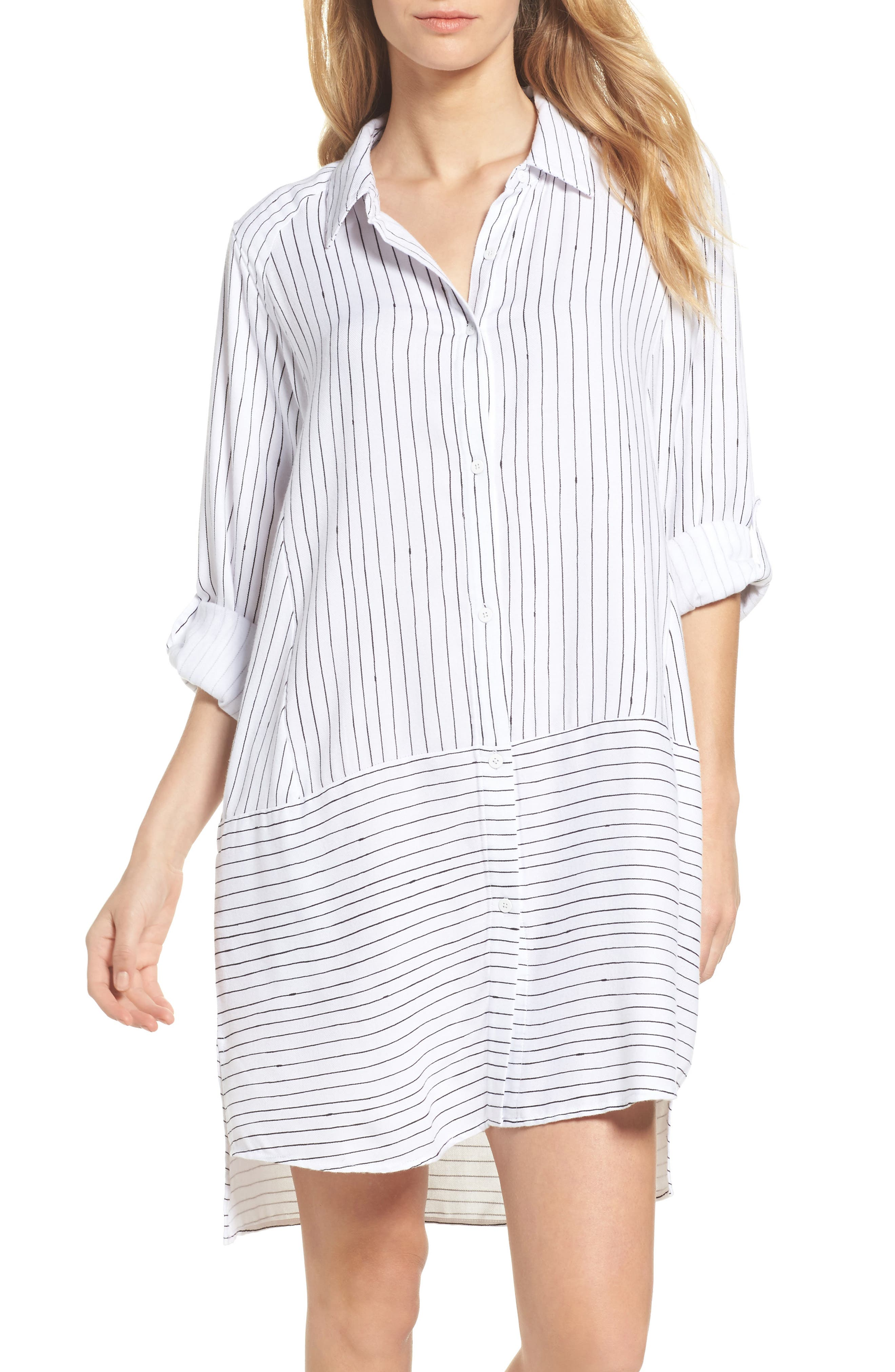 Stripe Sleep Shirt,                             Main thumbnail 1, color,                             White Stripe Print