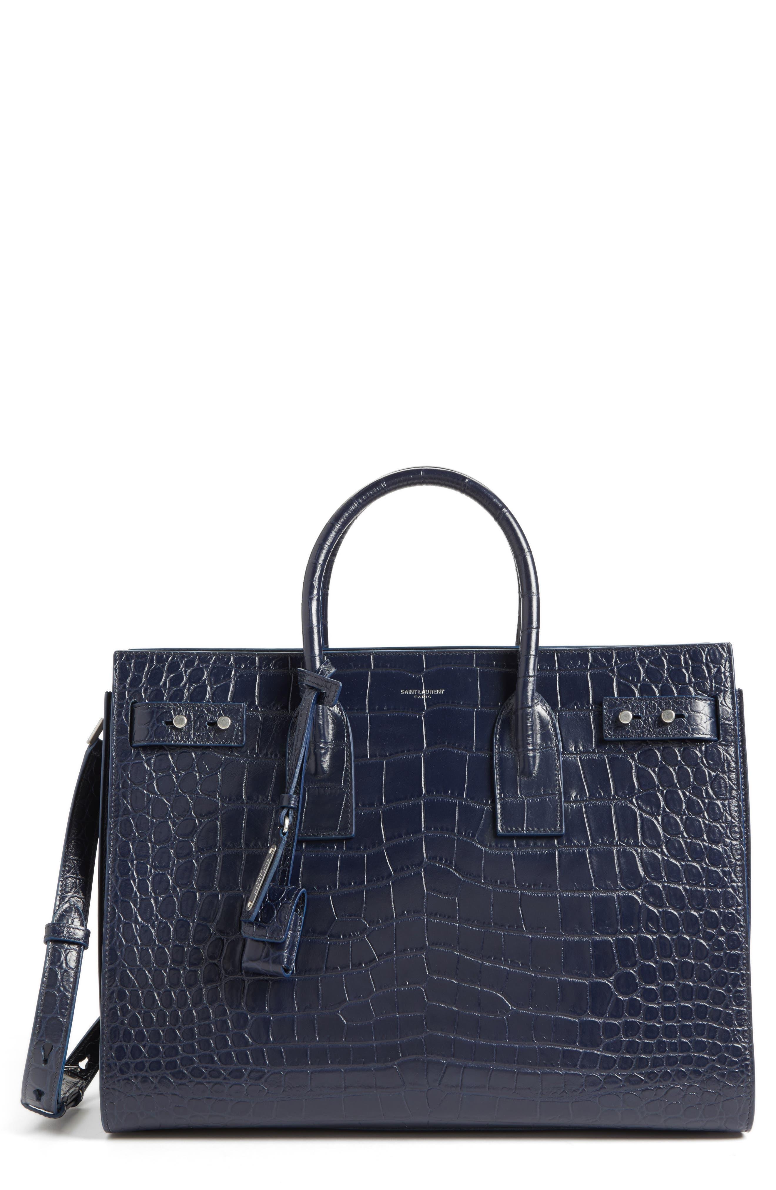 Small Sac de Jour Croc Embossed Leather Tote,                         Main,                         color, Bleu Fonce