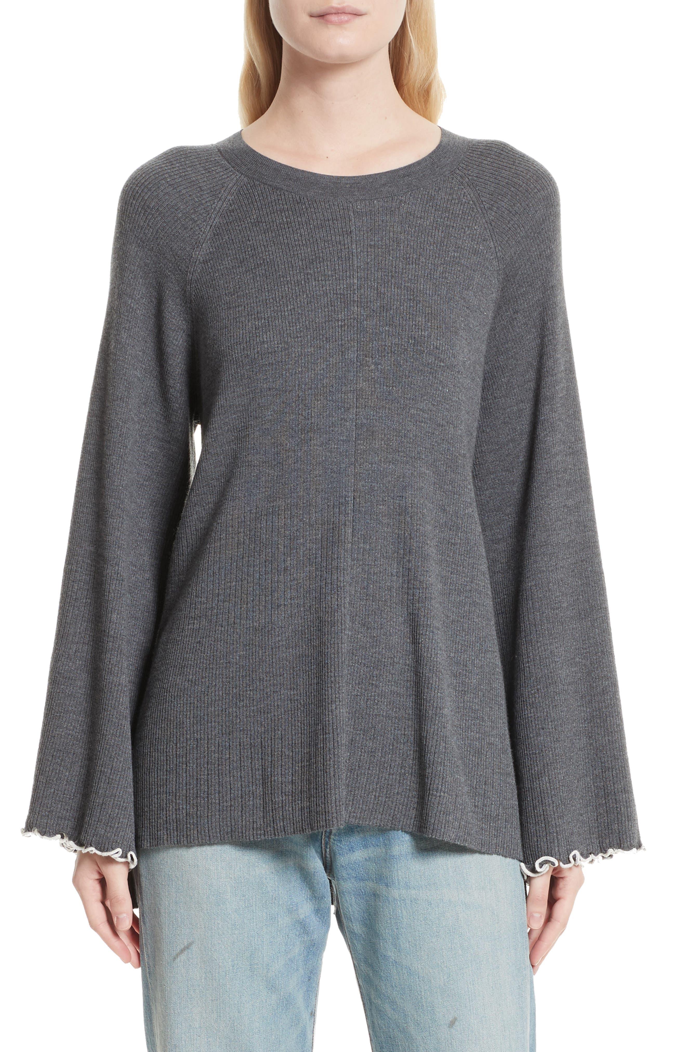 Georgine Merino Wool Blend Sweater,                         Main,                         color, Dark Heather Grey/ Alabaster