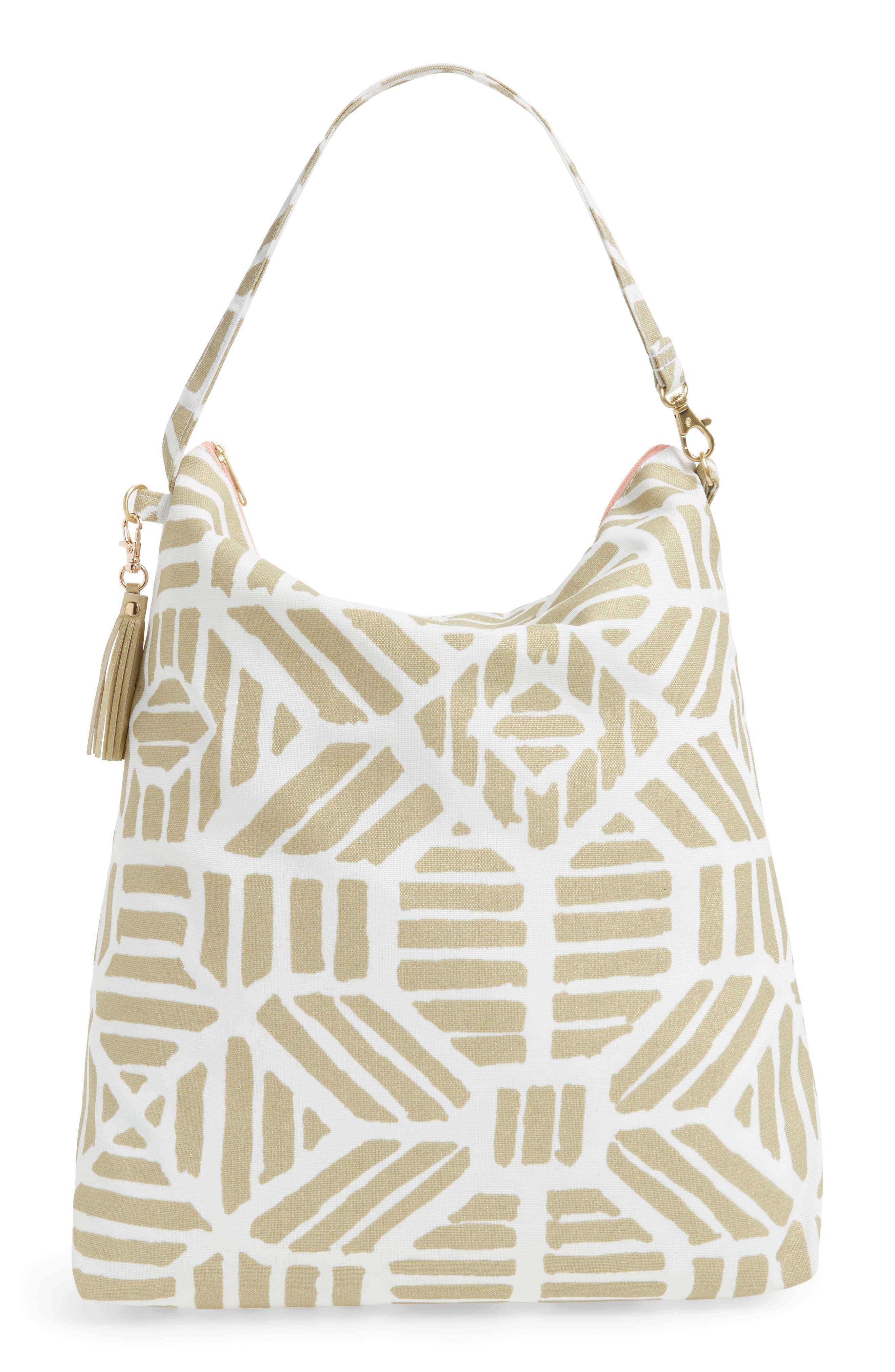 Waterproof Hobo Bag,                         Main,                         color, Gold Tribal