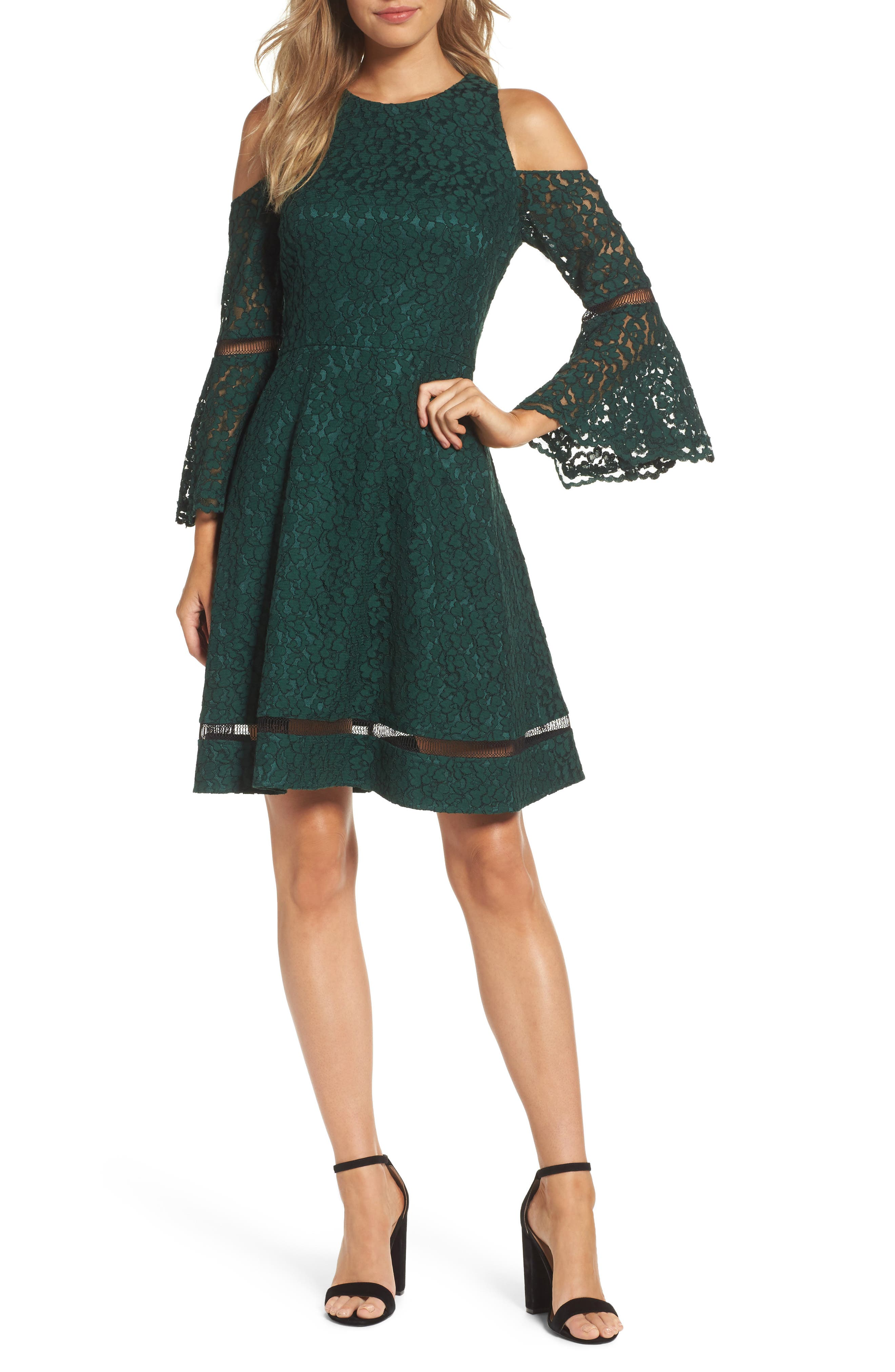Bell Sleeve Cold Shoulder Fit & Flare Dress,                             Main thumbnail 1, color,                             Green