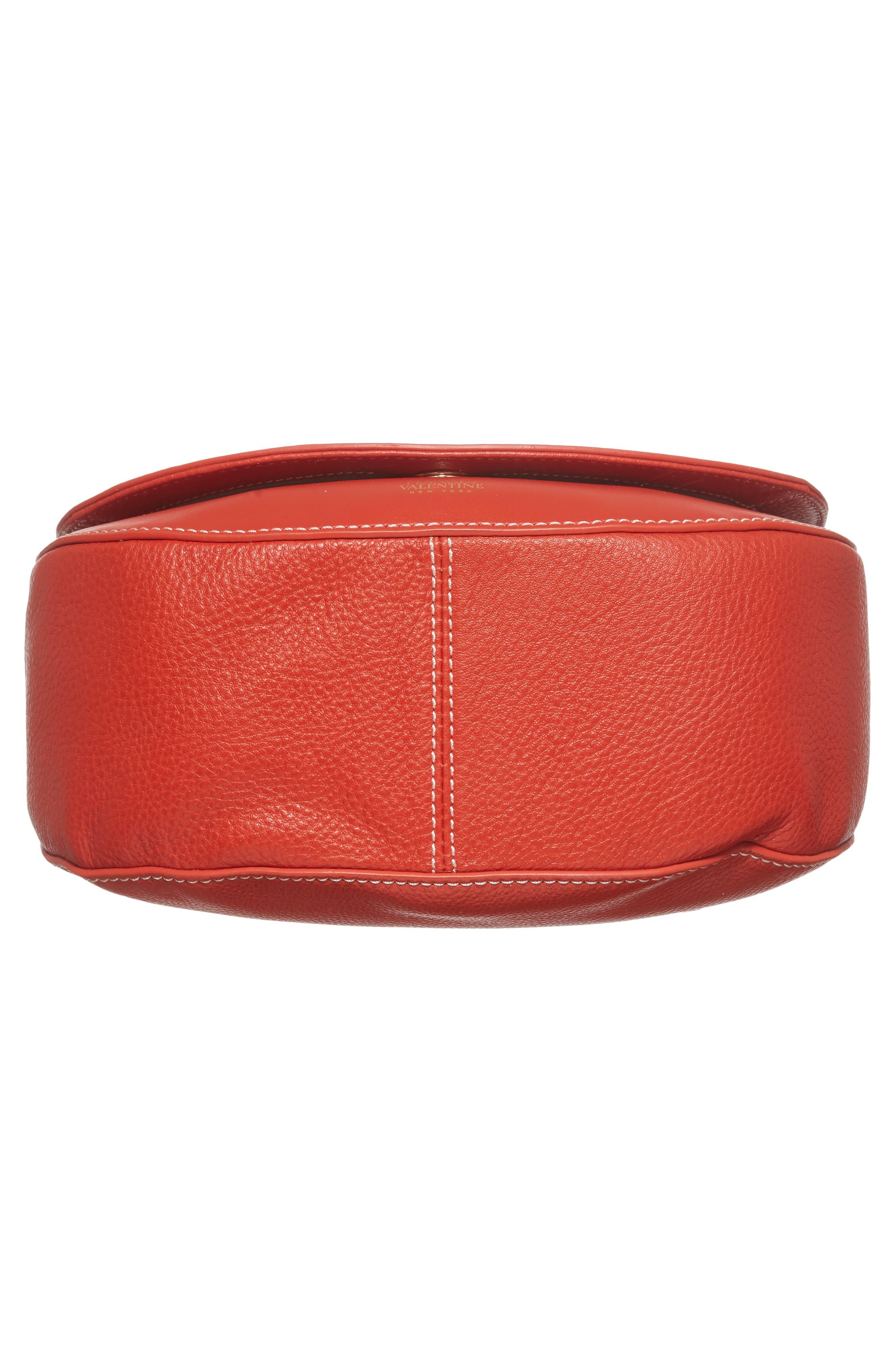 Small Ellen Leather Crossbody Bag,                             Alternate thumbnail 6, color,                             Coral