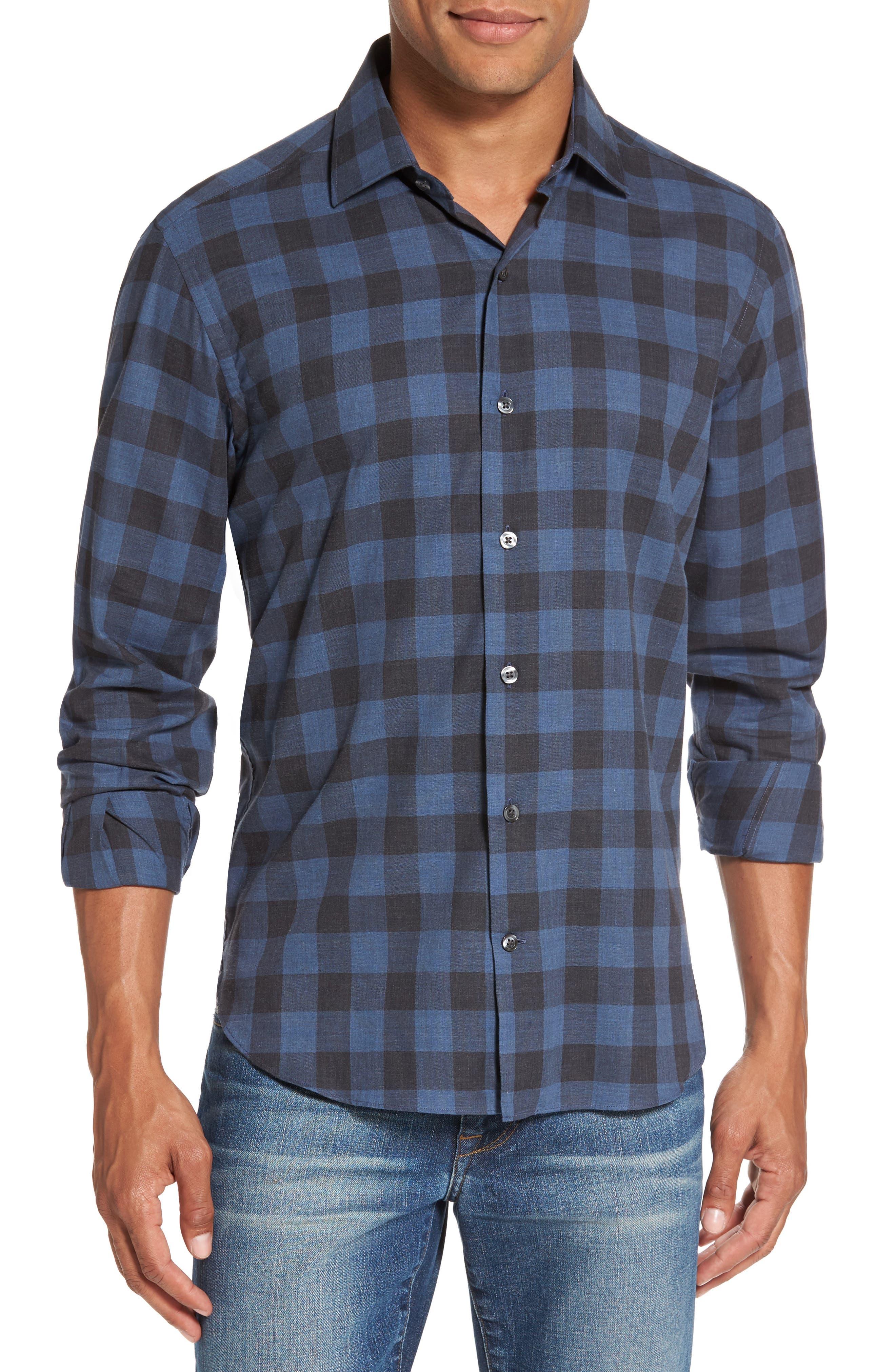 Trim Fit Buffalo Check Sport Shirt,                         Main,                         color, Blue