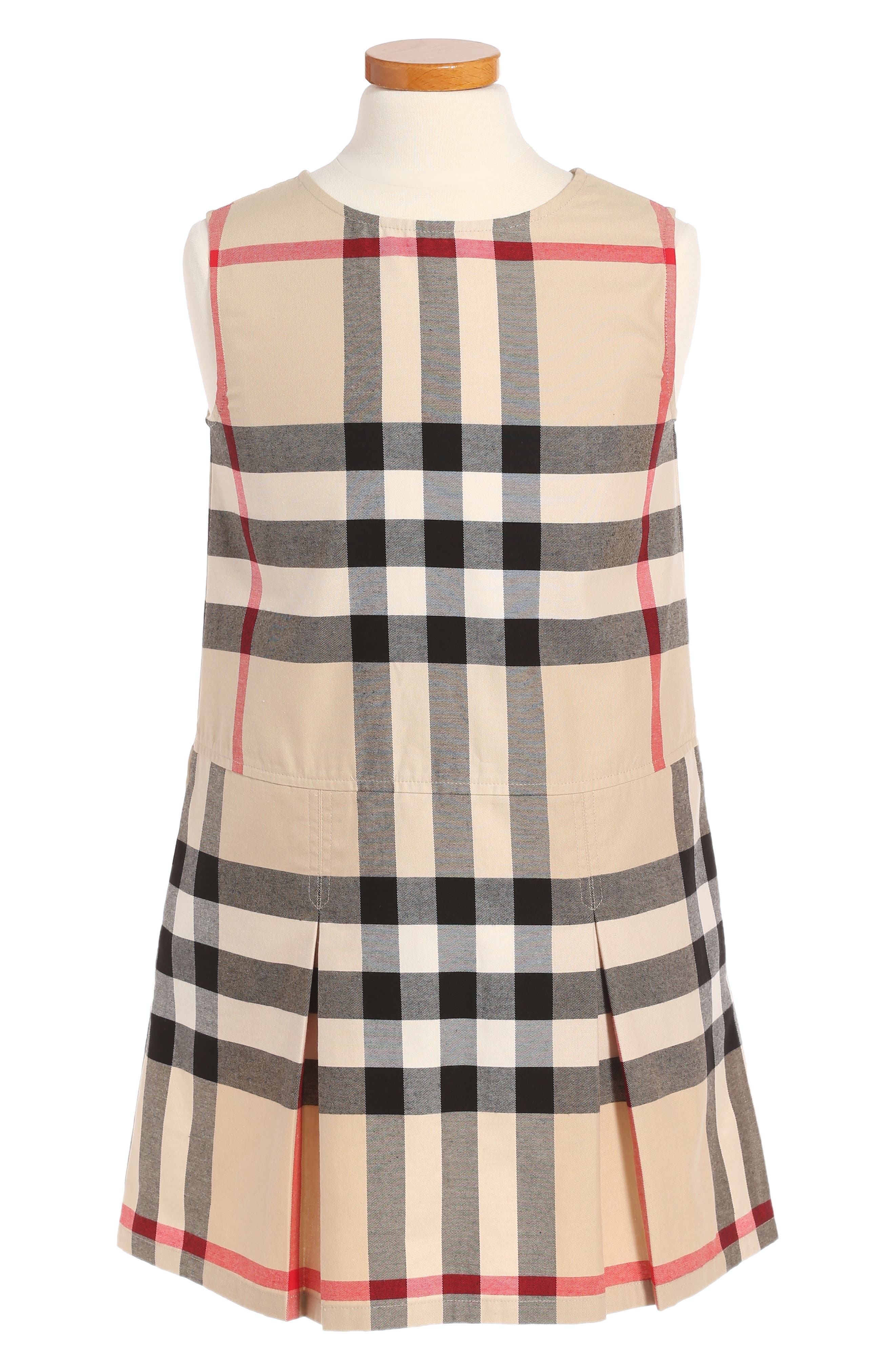 Dawny Check Print Sleeveless Dress,                             Main thumbnail 1, color,                             Heritage Stone