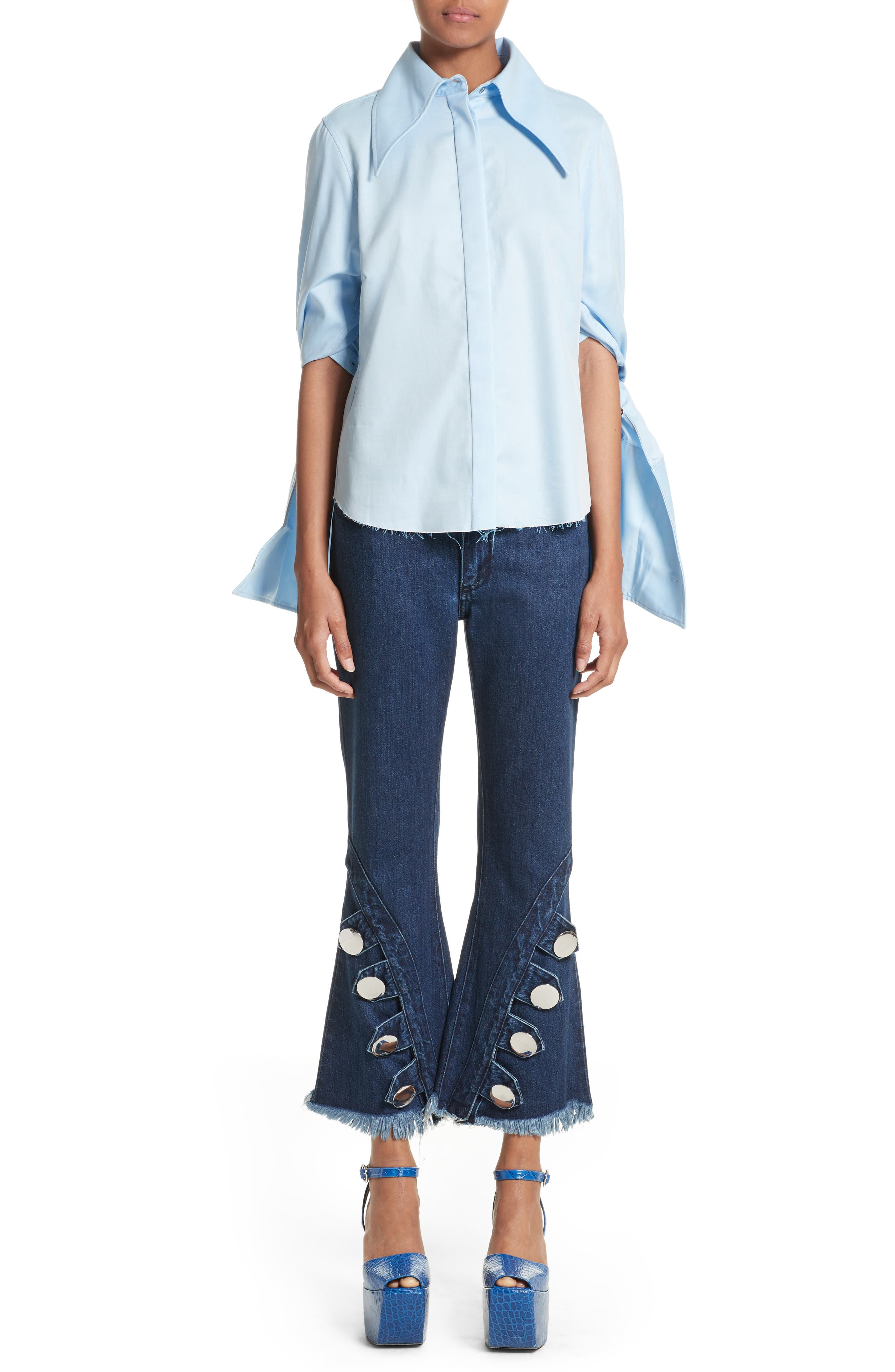 Marques'Almeida Button Trim Crop Flare Jeans,                             Alternate thumbnail 8, color,                             Indigo