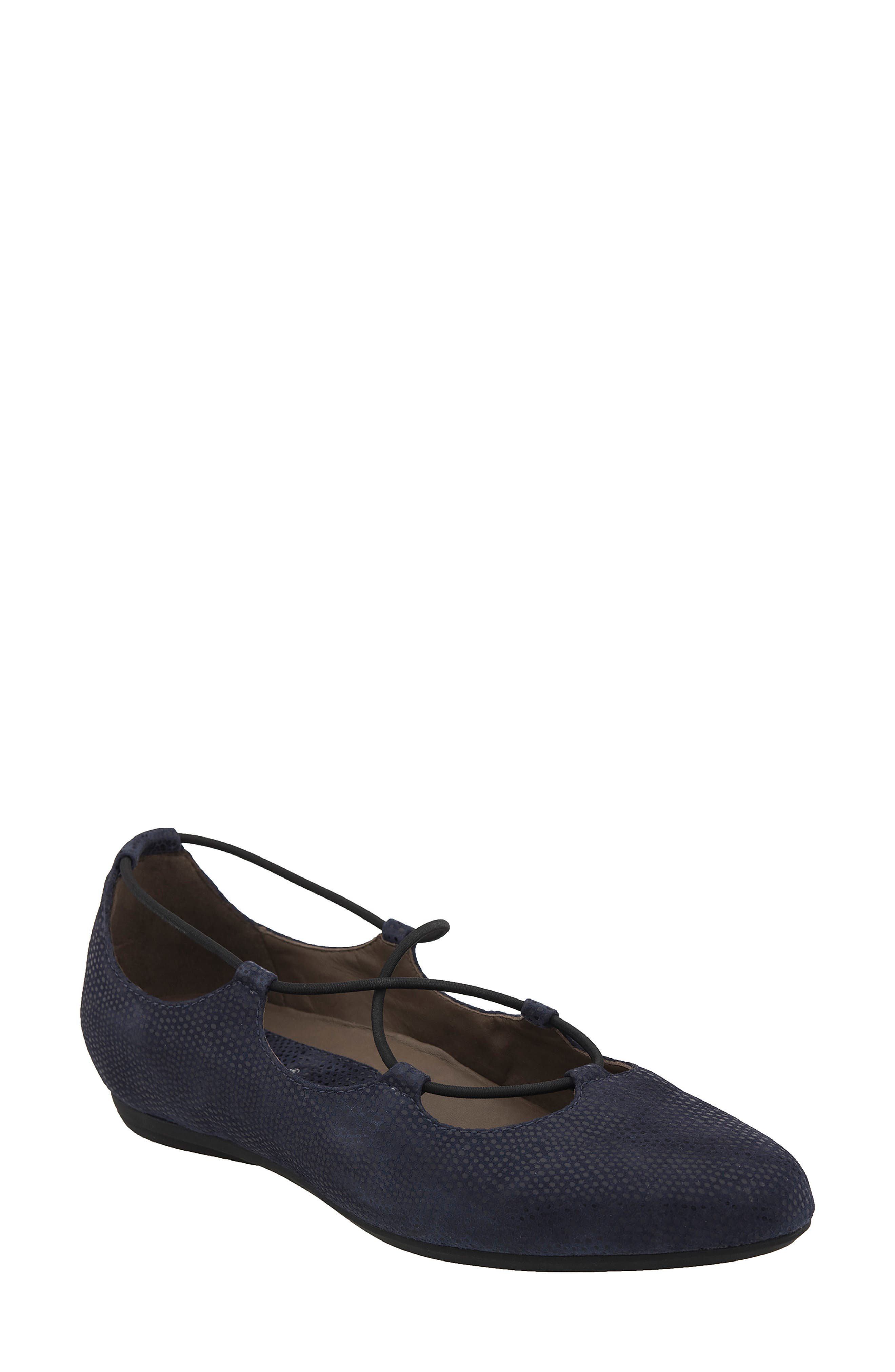 'Essen' Ghillie Flat,                             Main thumbnail 1, color,                             Navy Printed Suede