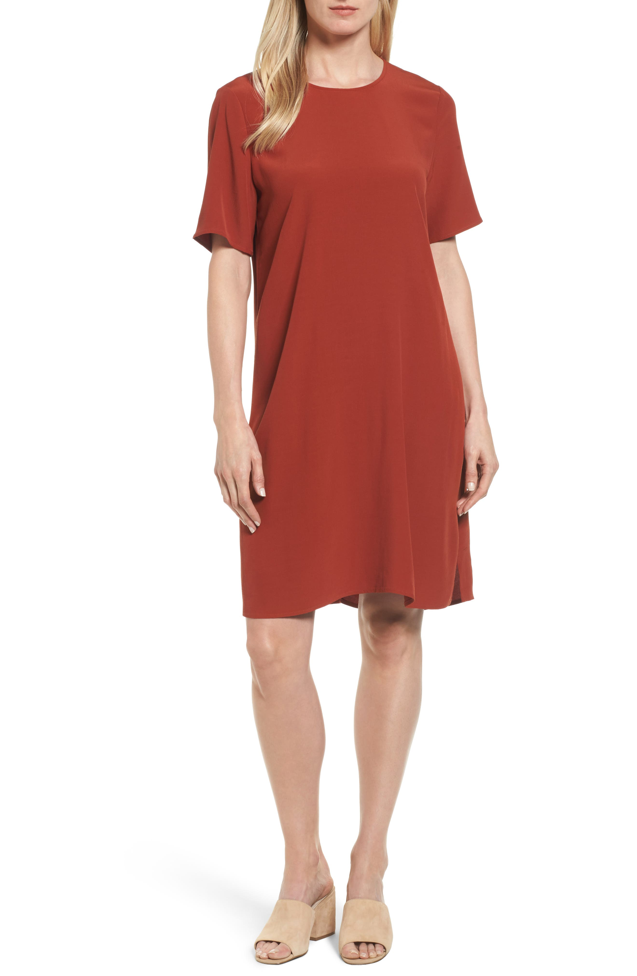 Tencel<sup>®</sup> Lyocell Blend Jersey Shift Dress,                         Main,                         color, Paprika