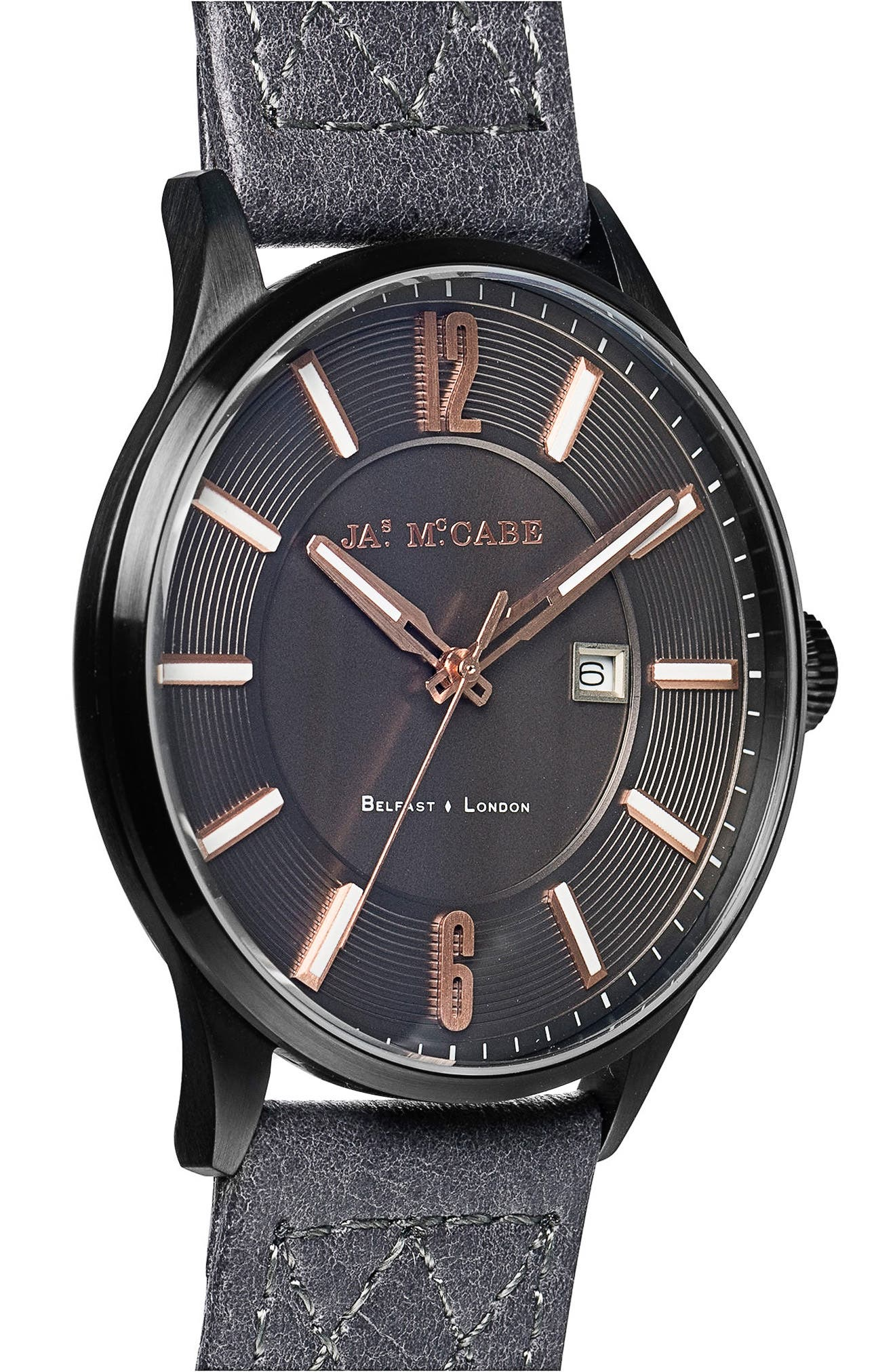 Alternate Image 4  - James McCabe London Slim Leather Strap Watch, 43mm