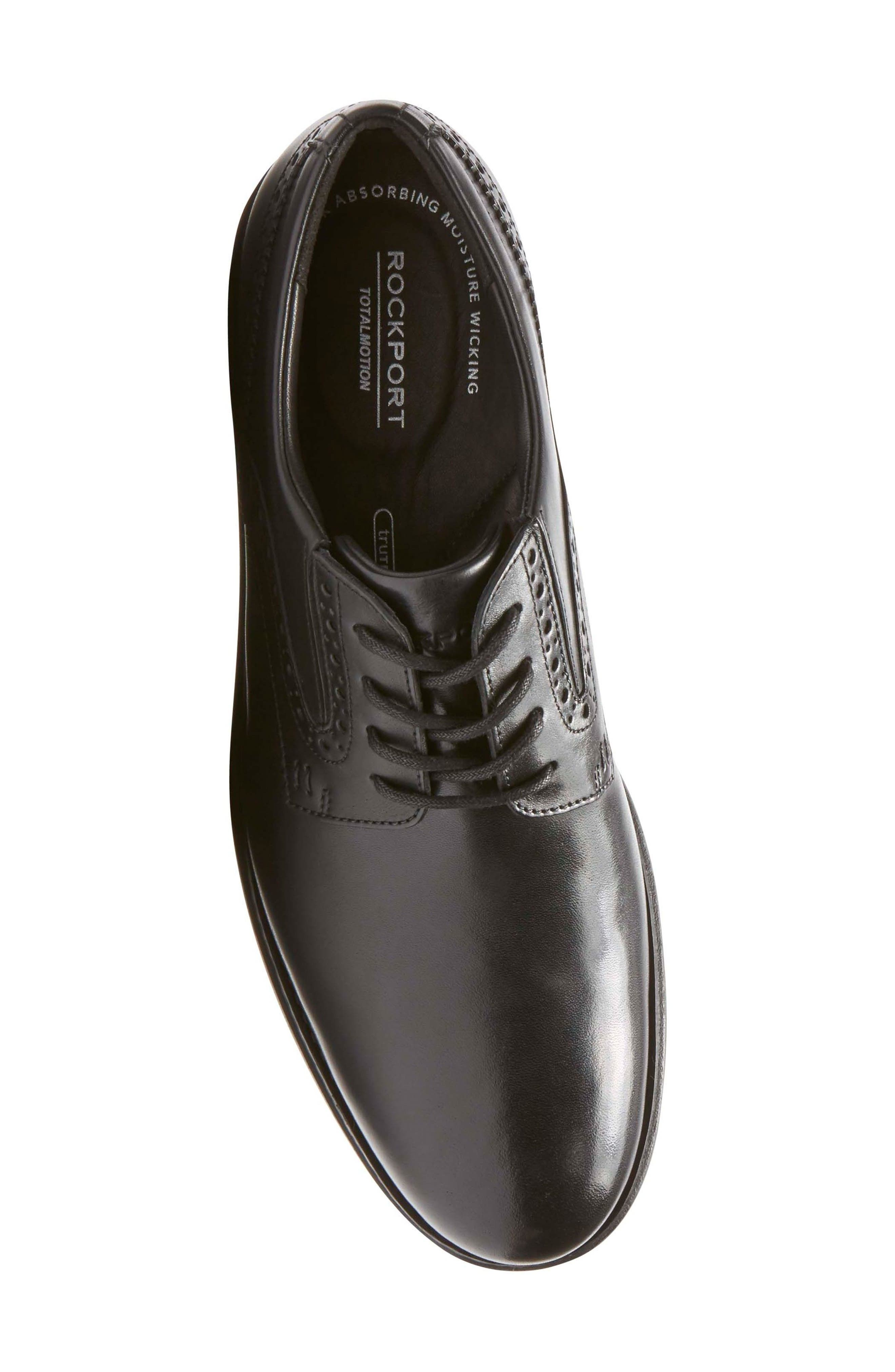 Total Motion Classic Dress Plain Toe Derby,                             Alternate thumbnail 5, color,                             Black Leather