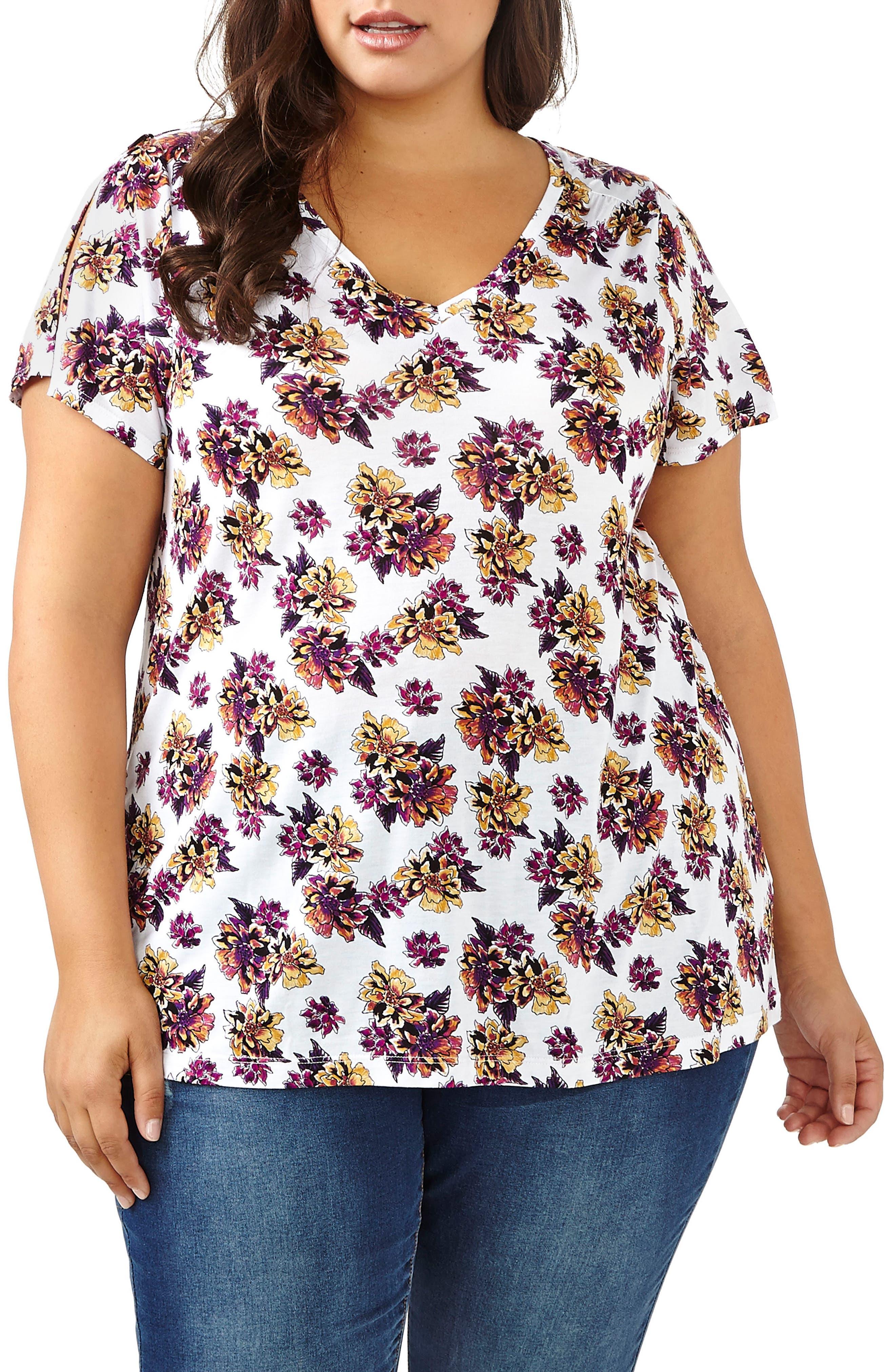 ADDITION ELLE LOVE AND LEGEND Floral Cutout Back Top (Plus Size)