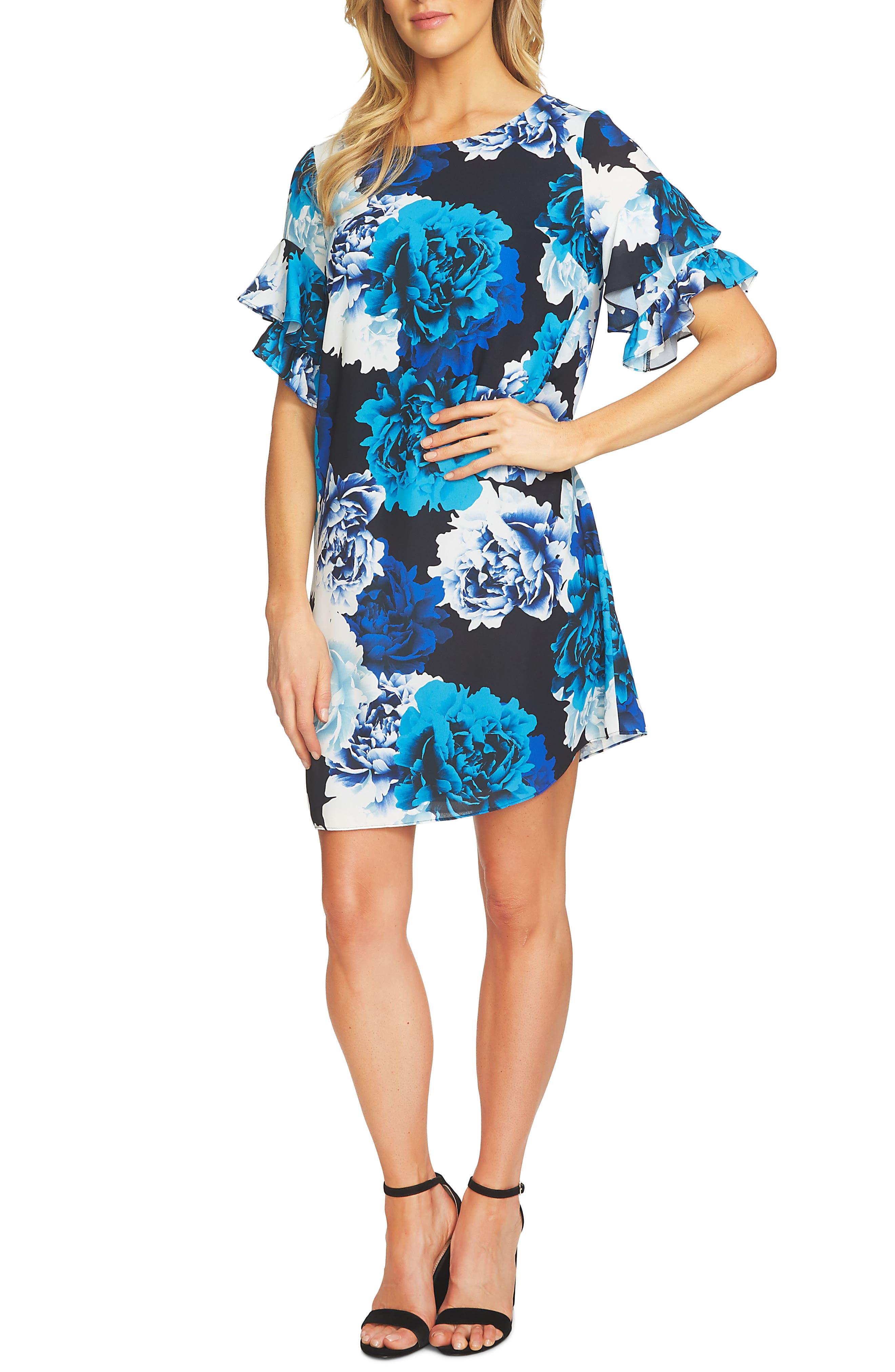 CeCe Bouquet Ruffle Sleeve Crepe A-Line Dress