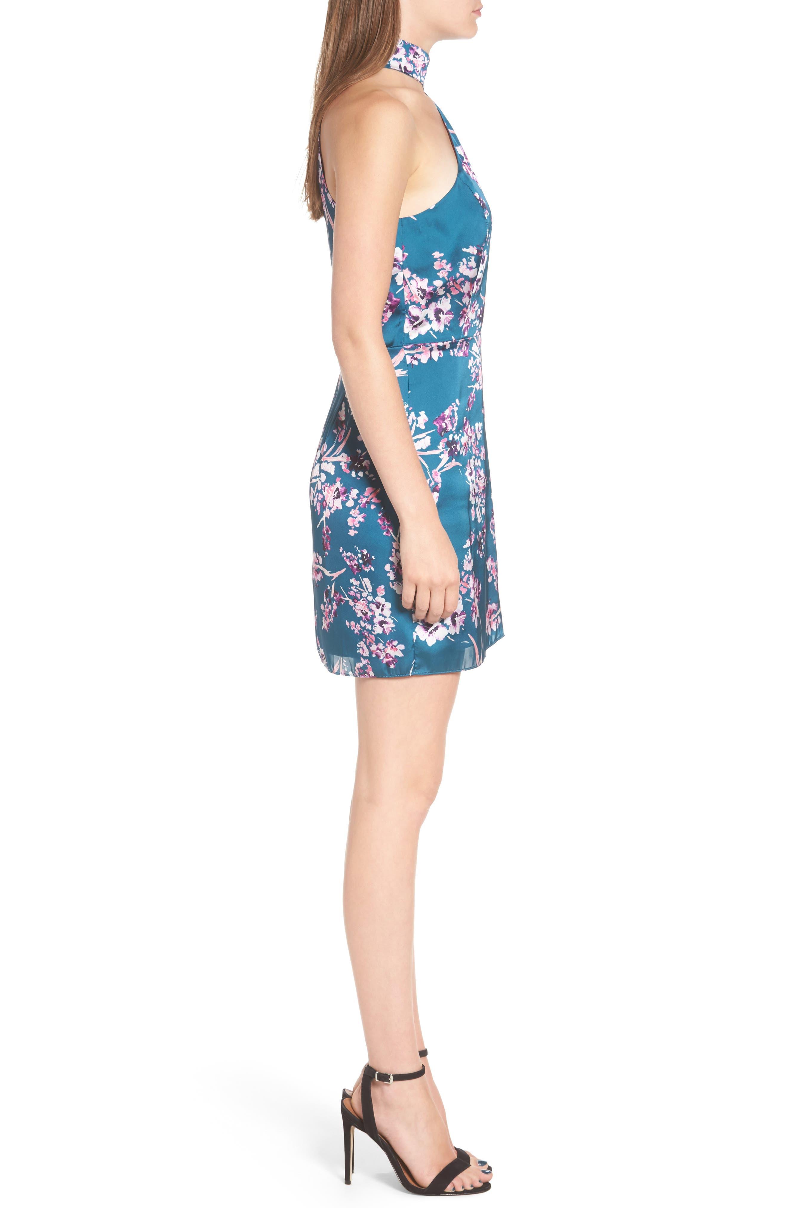Clover Cold Shoulder Sheath Dress,                             Alternate thumbnail 3, color,                             Moroccan Blossom