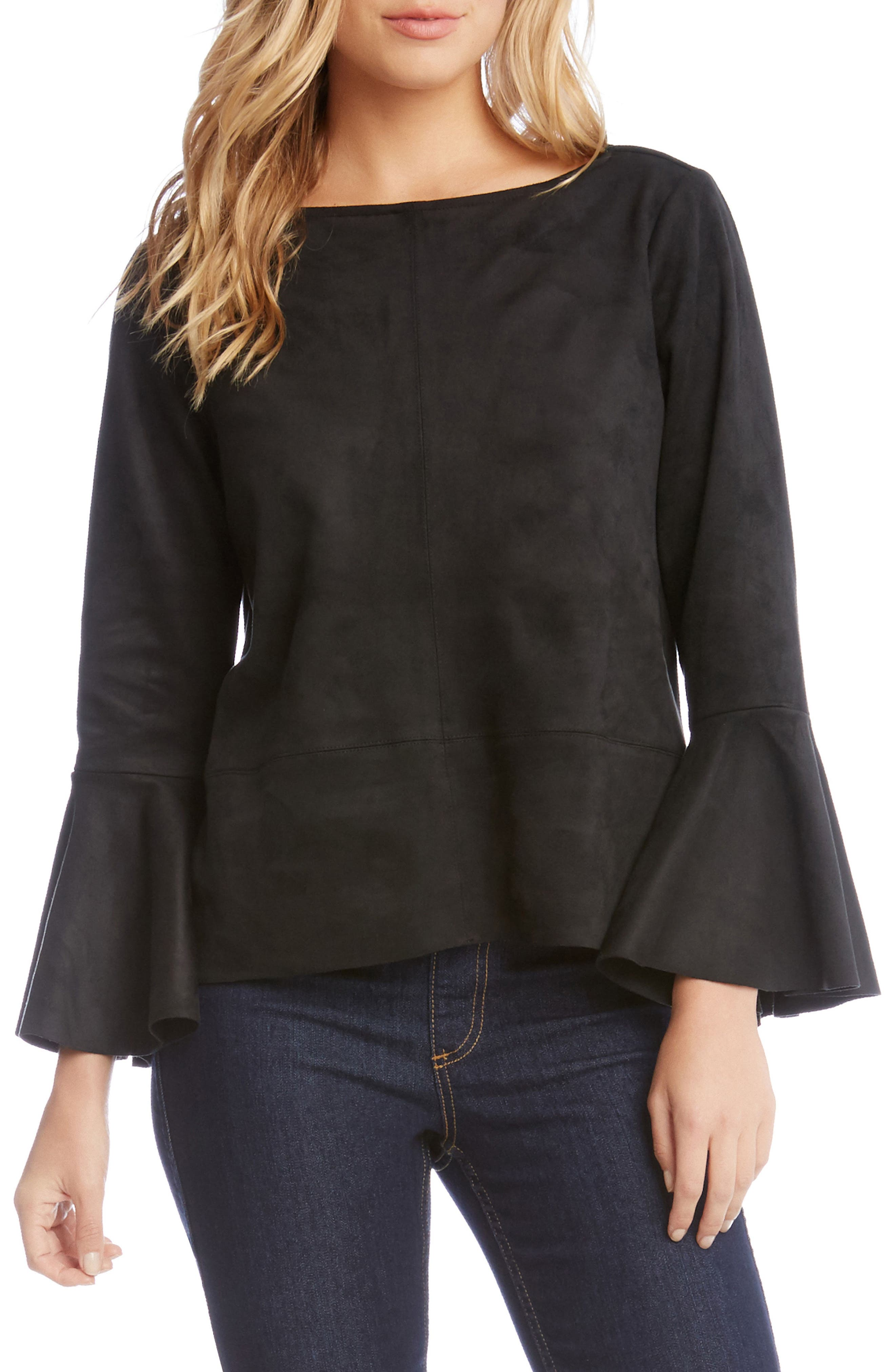 Flare Sleeve Faux Suede Top,                             Main thumbnail 1, color,                             Black