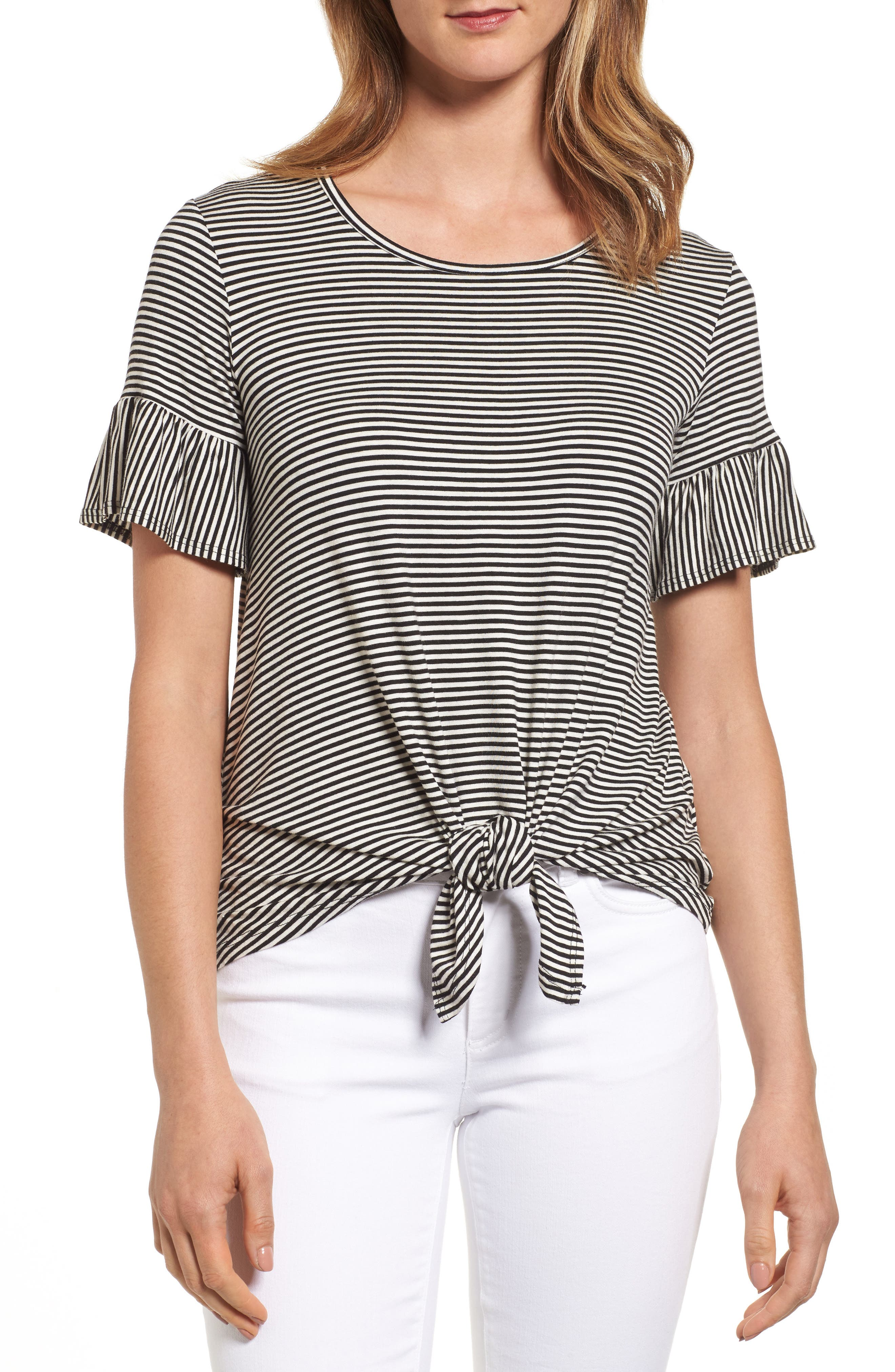 Alternate Image 1 Selected - Bobeau Bell Sleeve Tie Front Top (Regular & Petite)