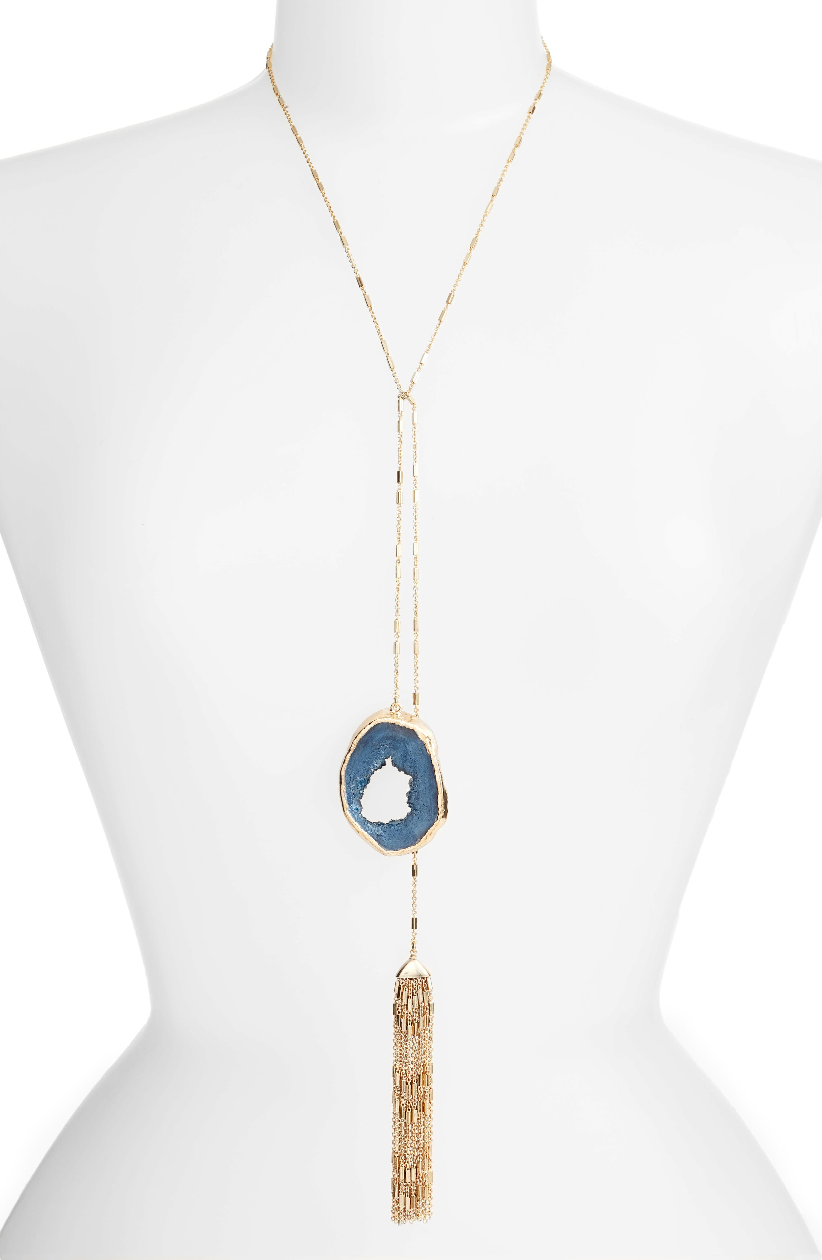 Drusy Lariat Necklace,                         Main,                         color, Blue- Gold